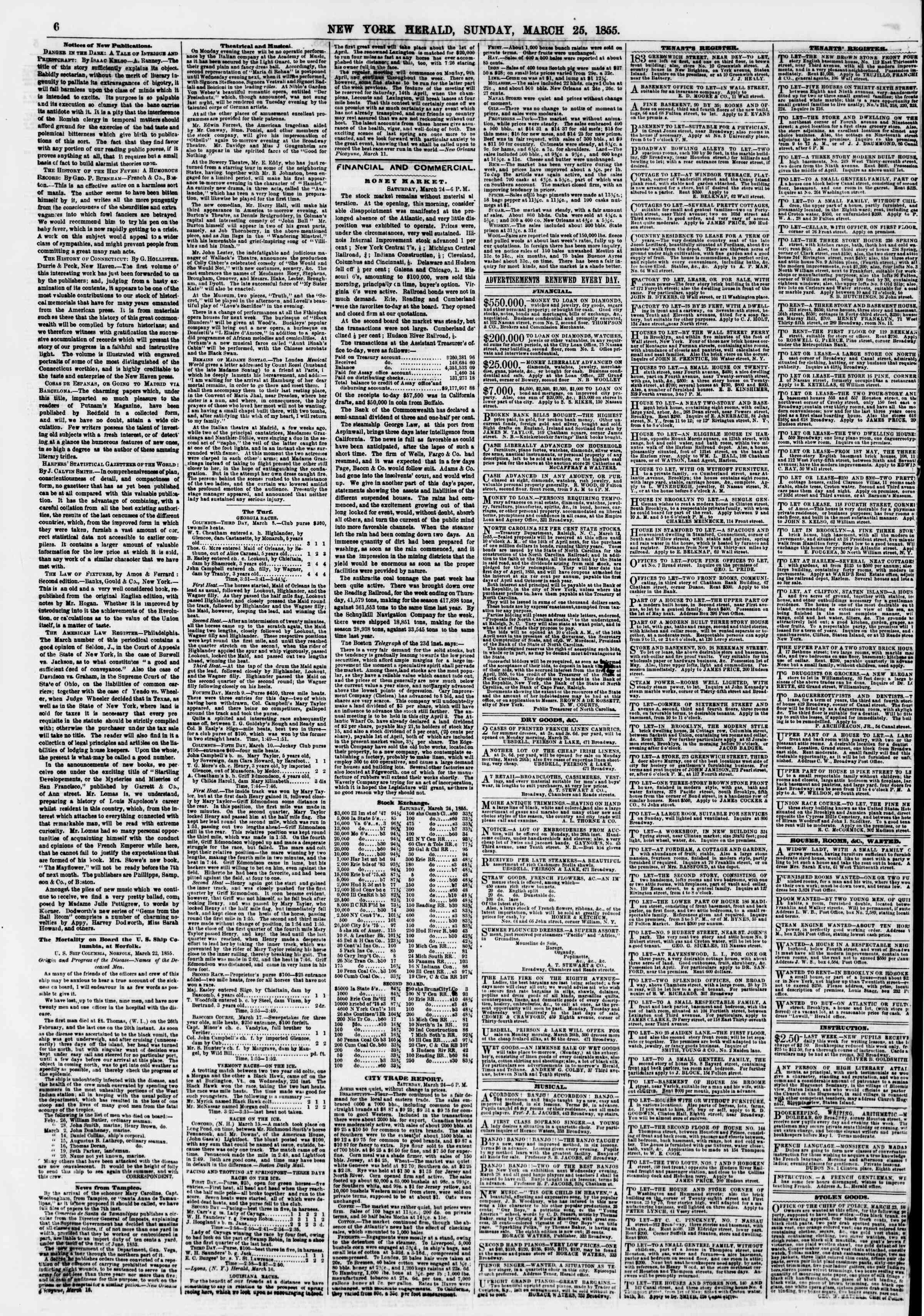 25 Mart 1855 tarihli The New York Herald Gazetesi Sayfa 6