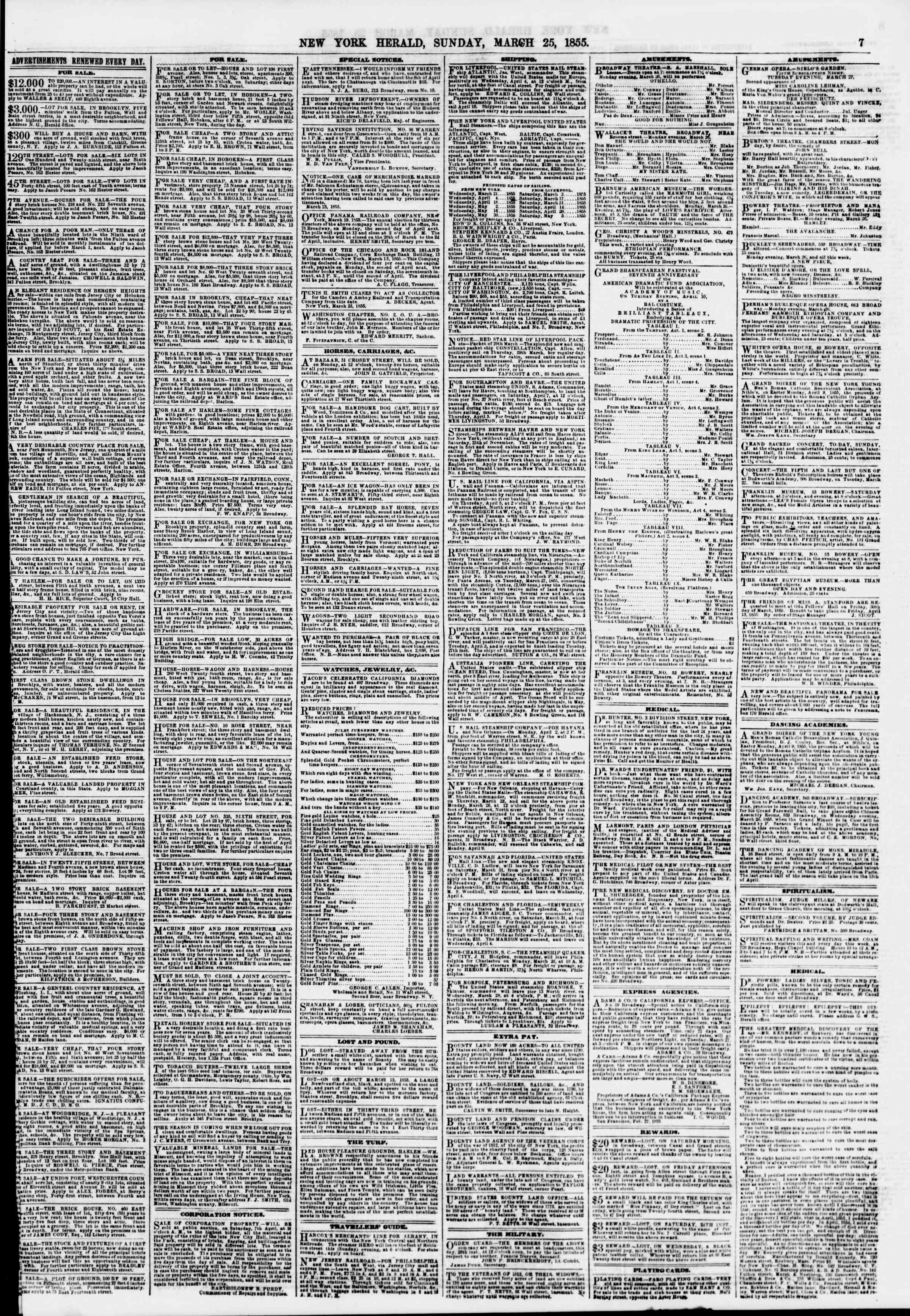 25 Mart 1855 tarihli The New York Herald Gazetesi Sayfa 7