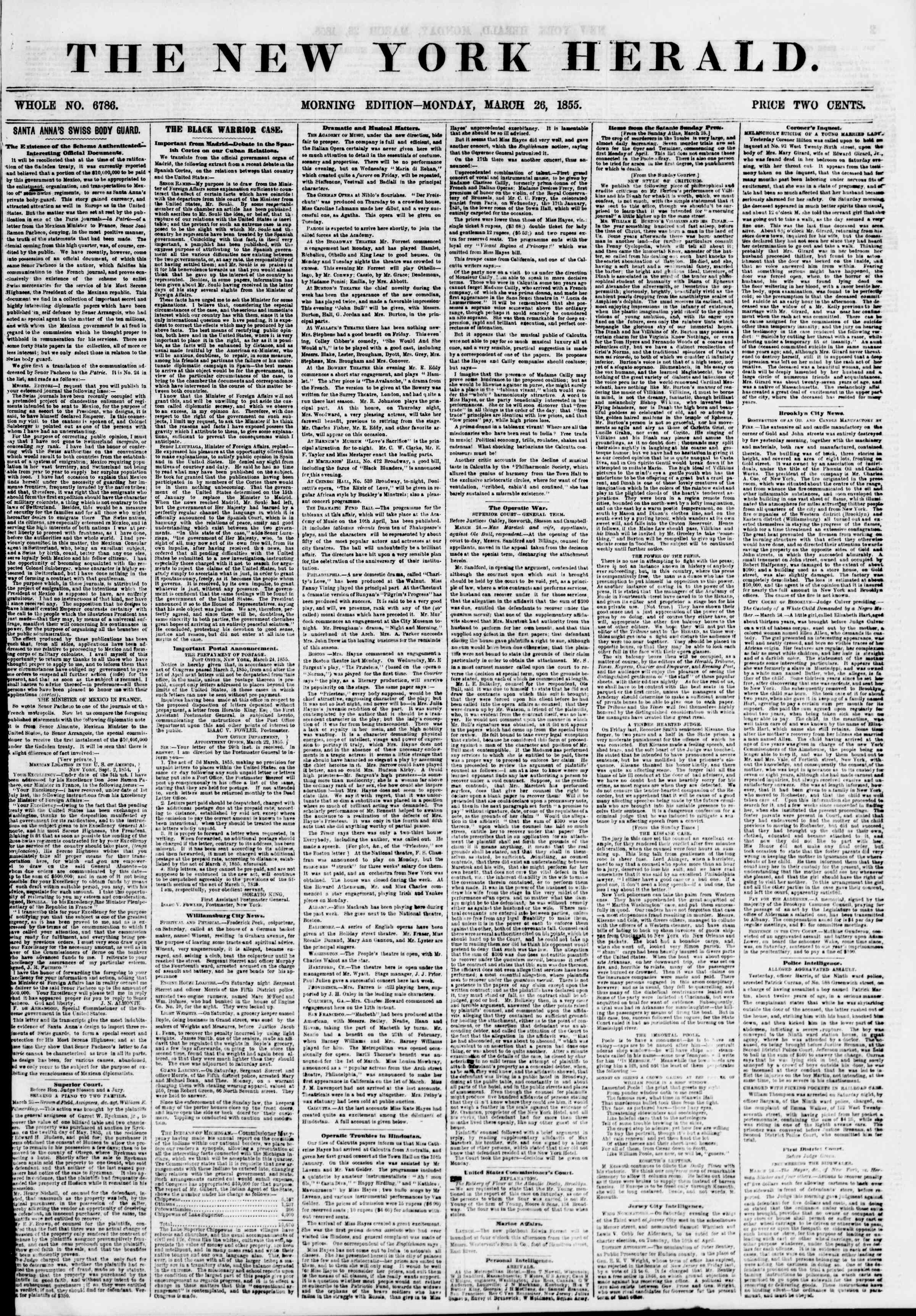 Newspaper of The New York Herald dated March 26, 1855 Page 1