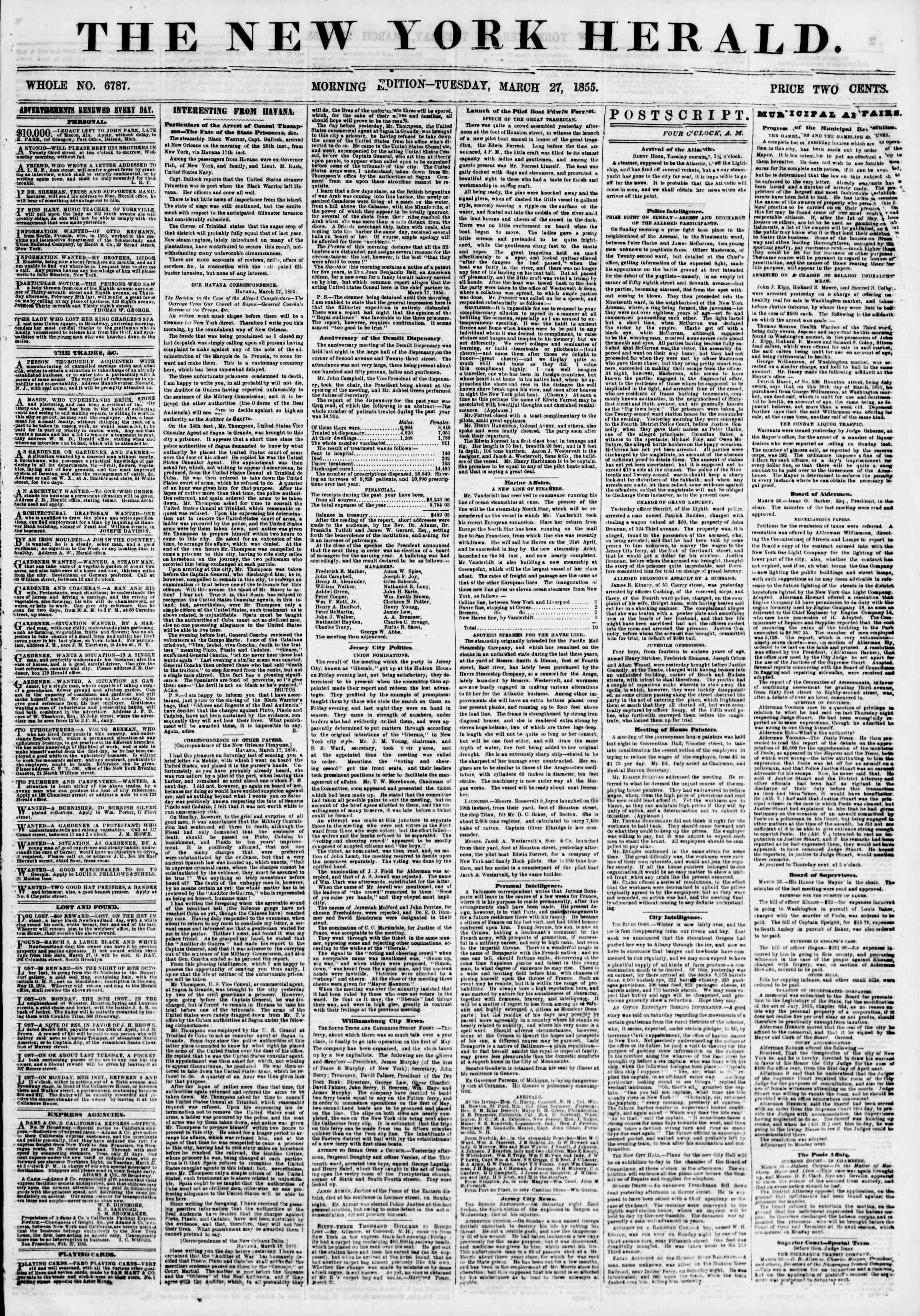 Newspaper of The New York Herald dated March 27, 1855 Page 1