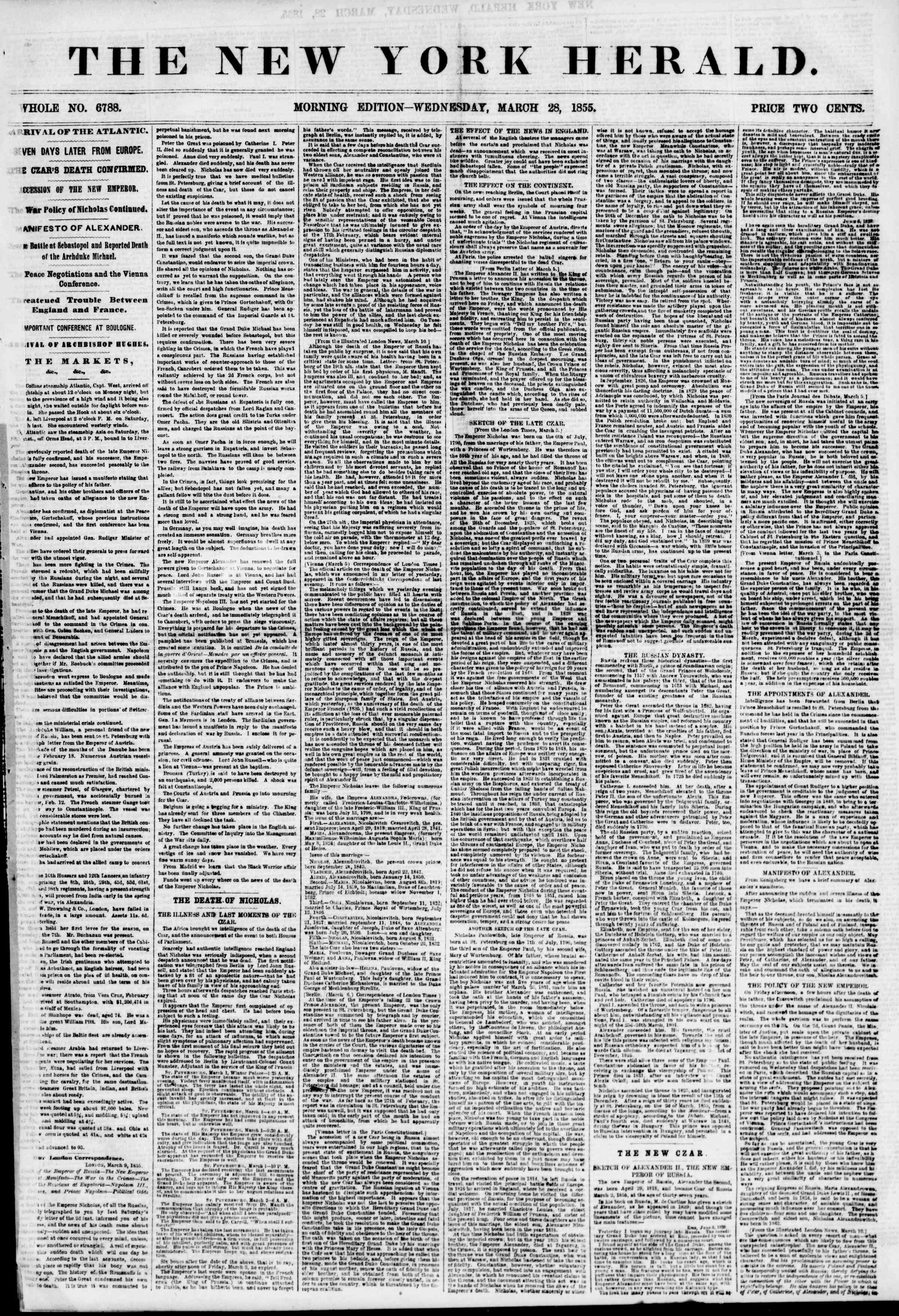 Newspaper of The New York Herald dated March 28, 1855 Page 1