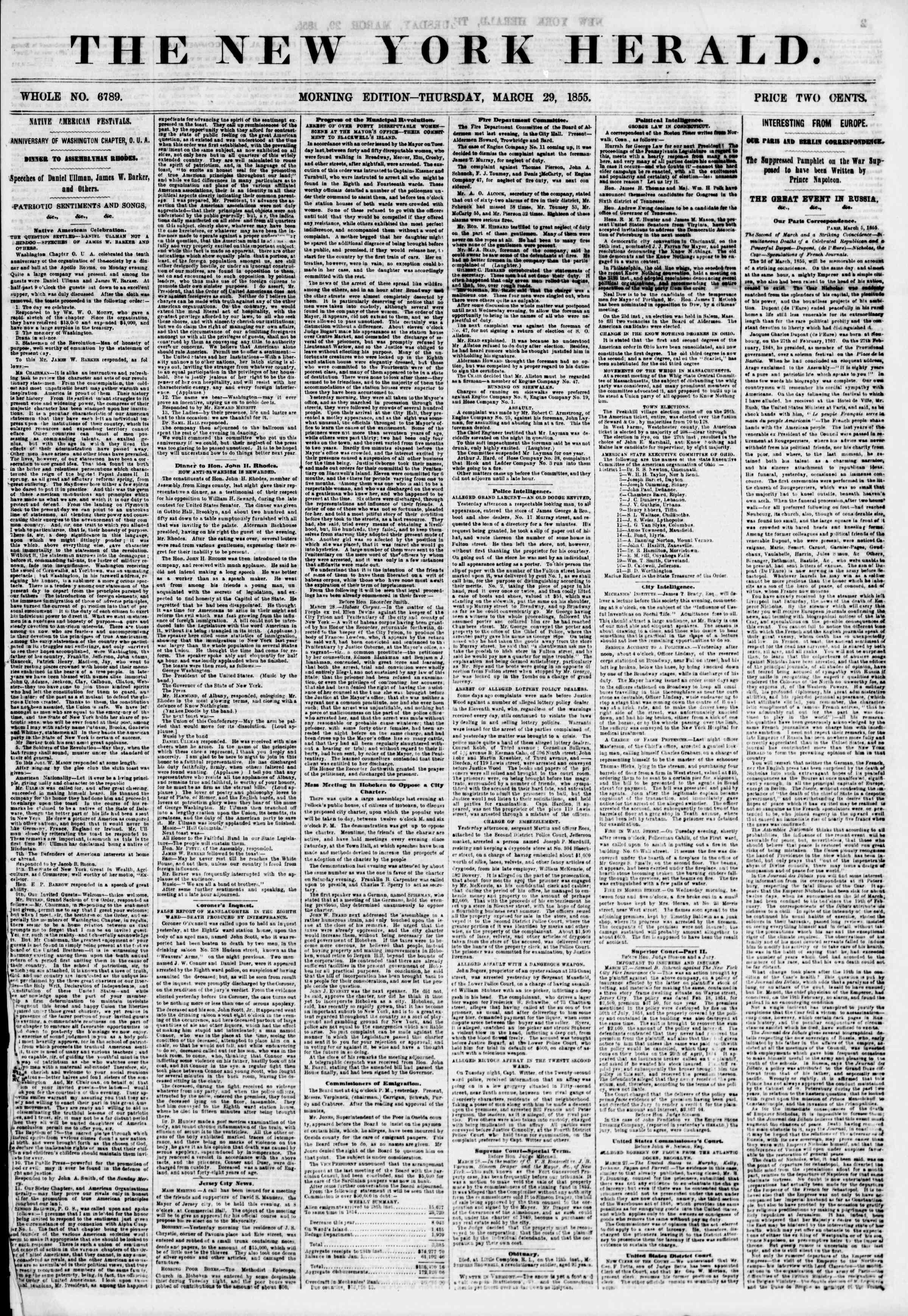 Newspaper of The New York Herald dated March 29, 1855 Page 1