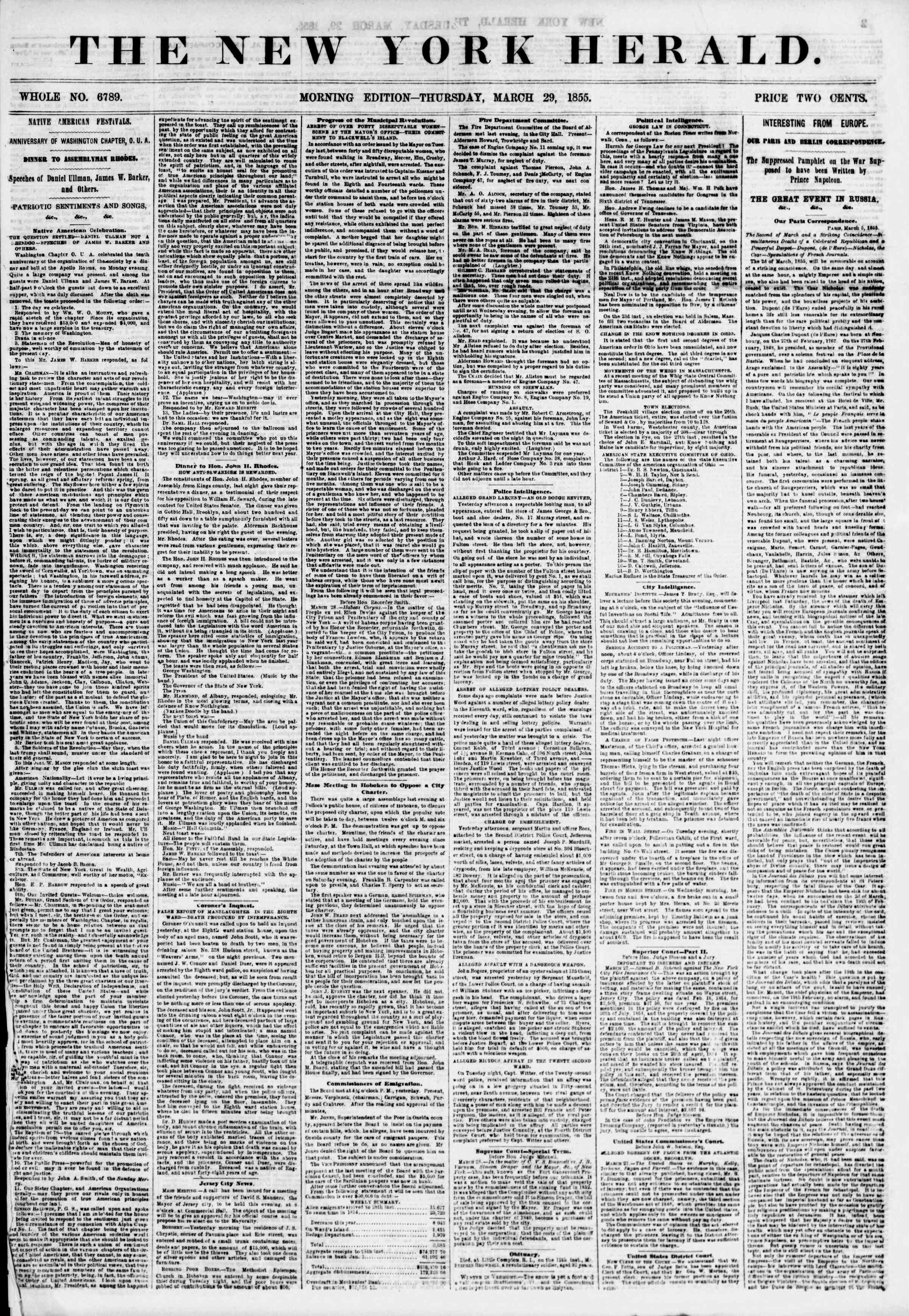 Newspaper of The New York Herald dated March 29, 1855 Page 2