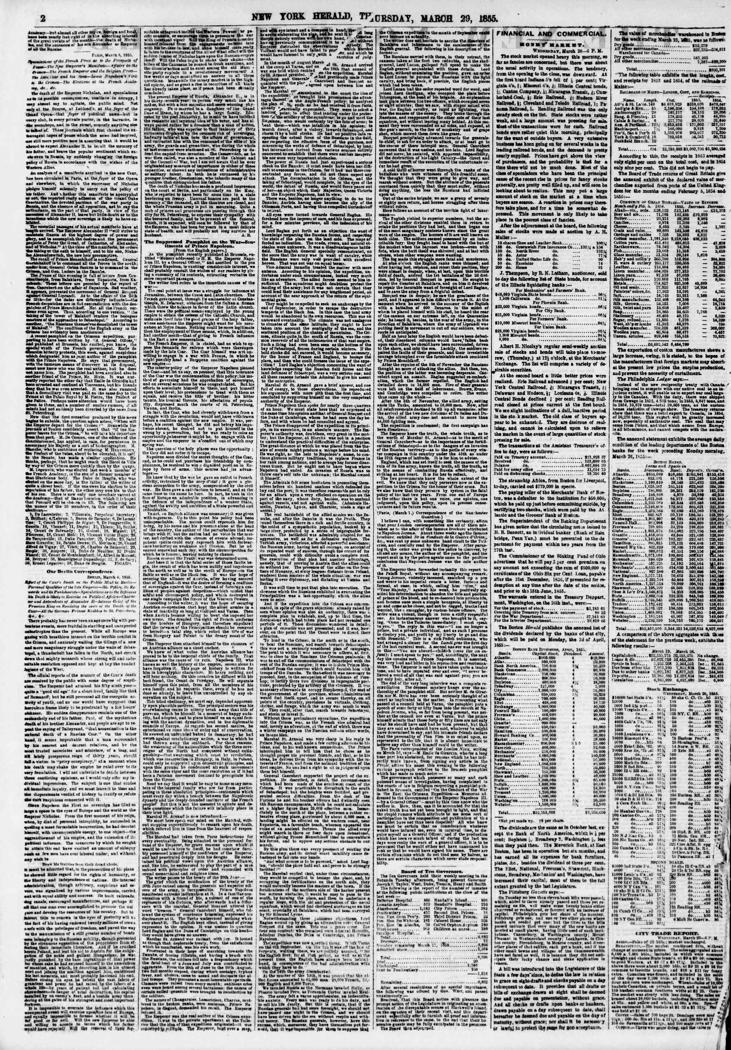 Newspaper of The New York Herald dated March 29, 1855 Page 3