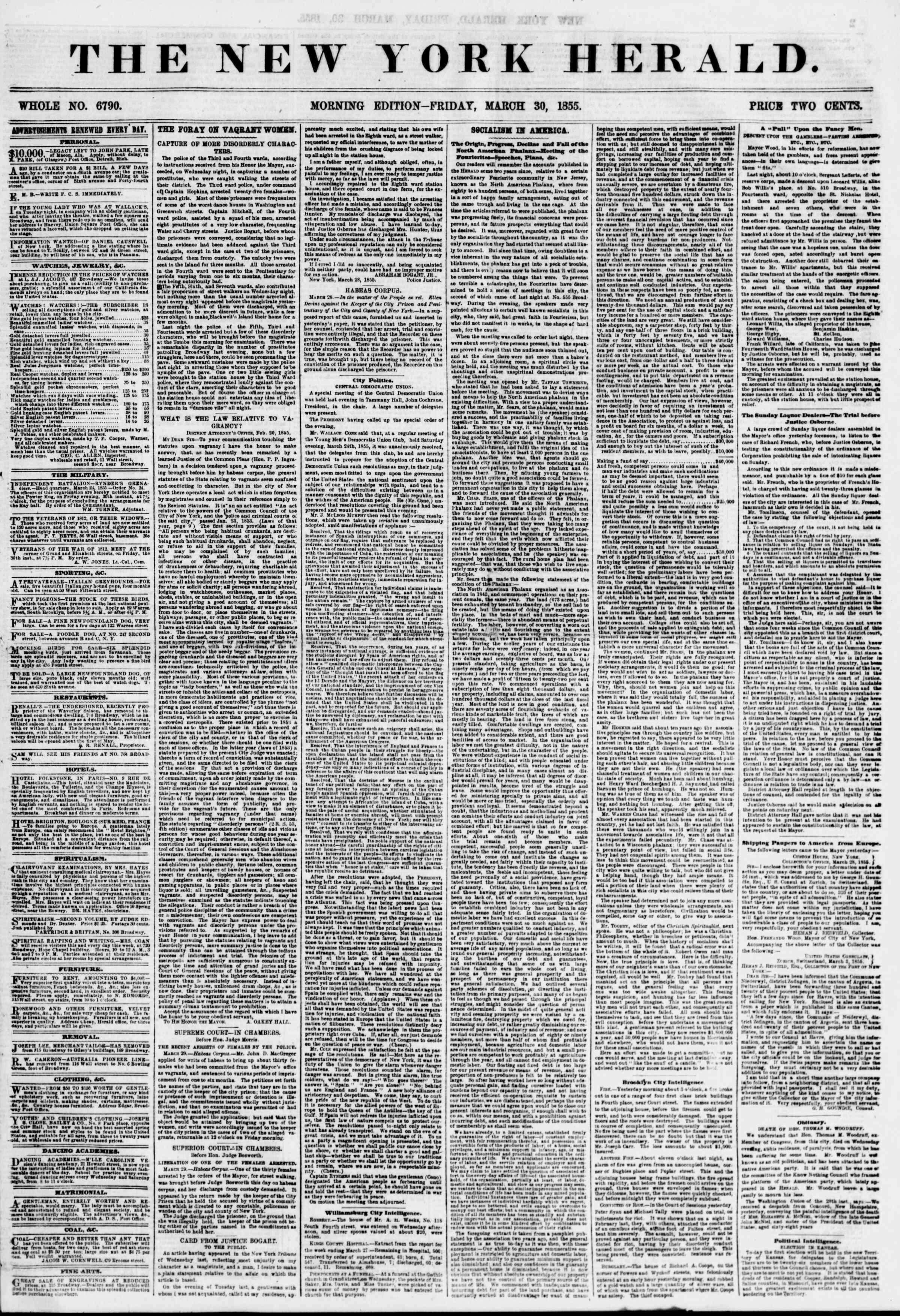 Newspaper of The New York Herald dated March 30, 1855 Page 1