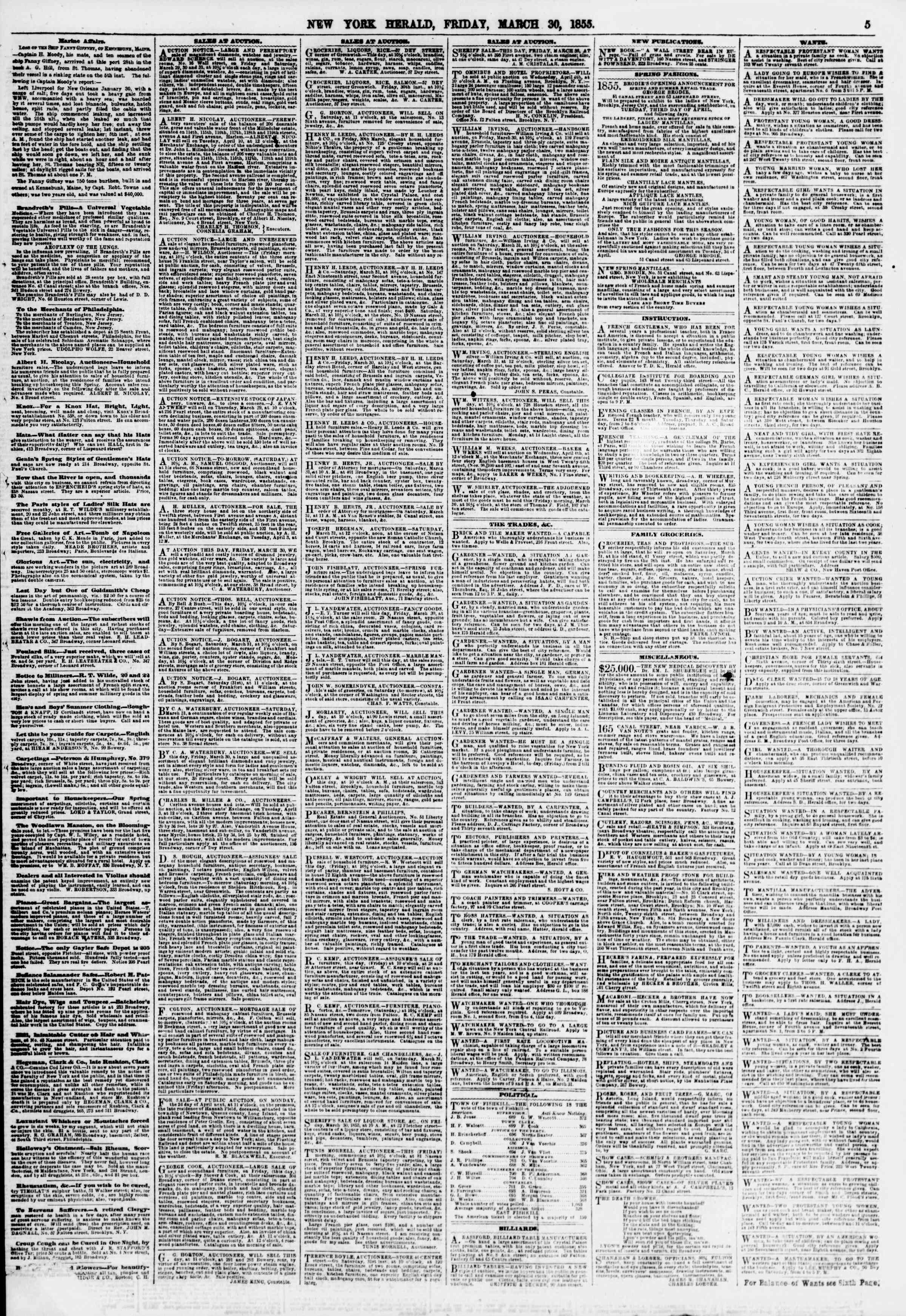 Newspaper of The New York Herald dated March 30, 1855 Page 5