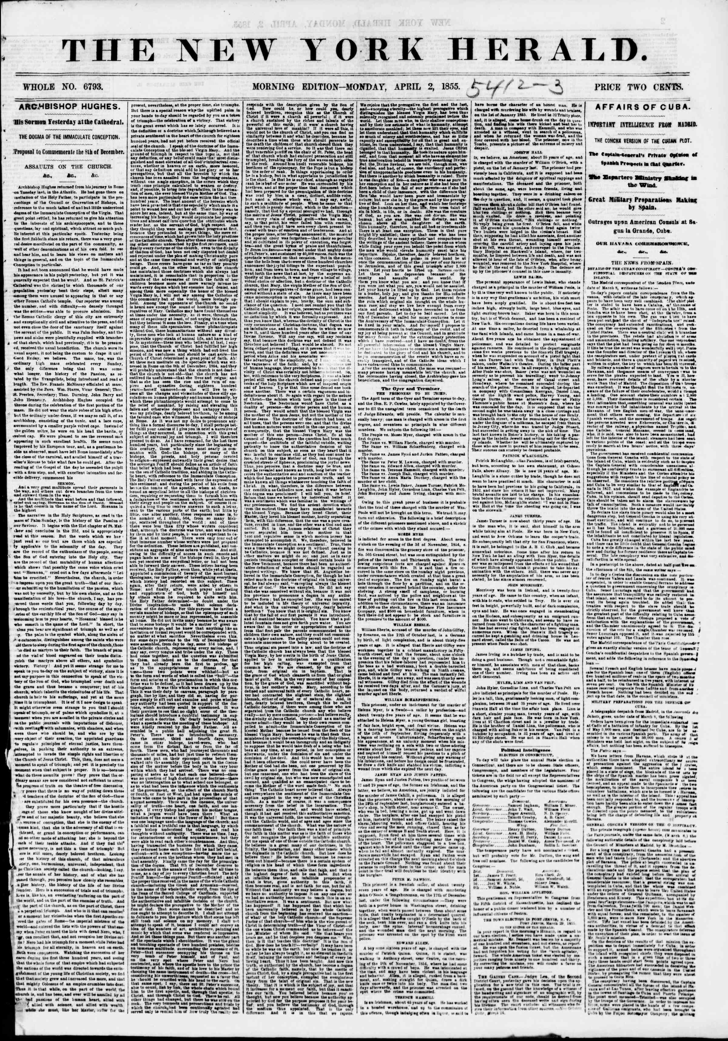 Newspaper of The New York Herald dated April 2, 1855 Page 1