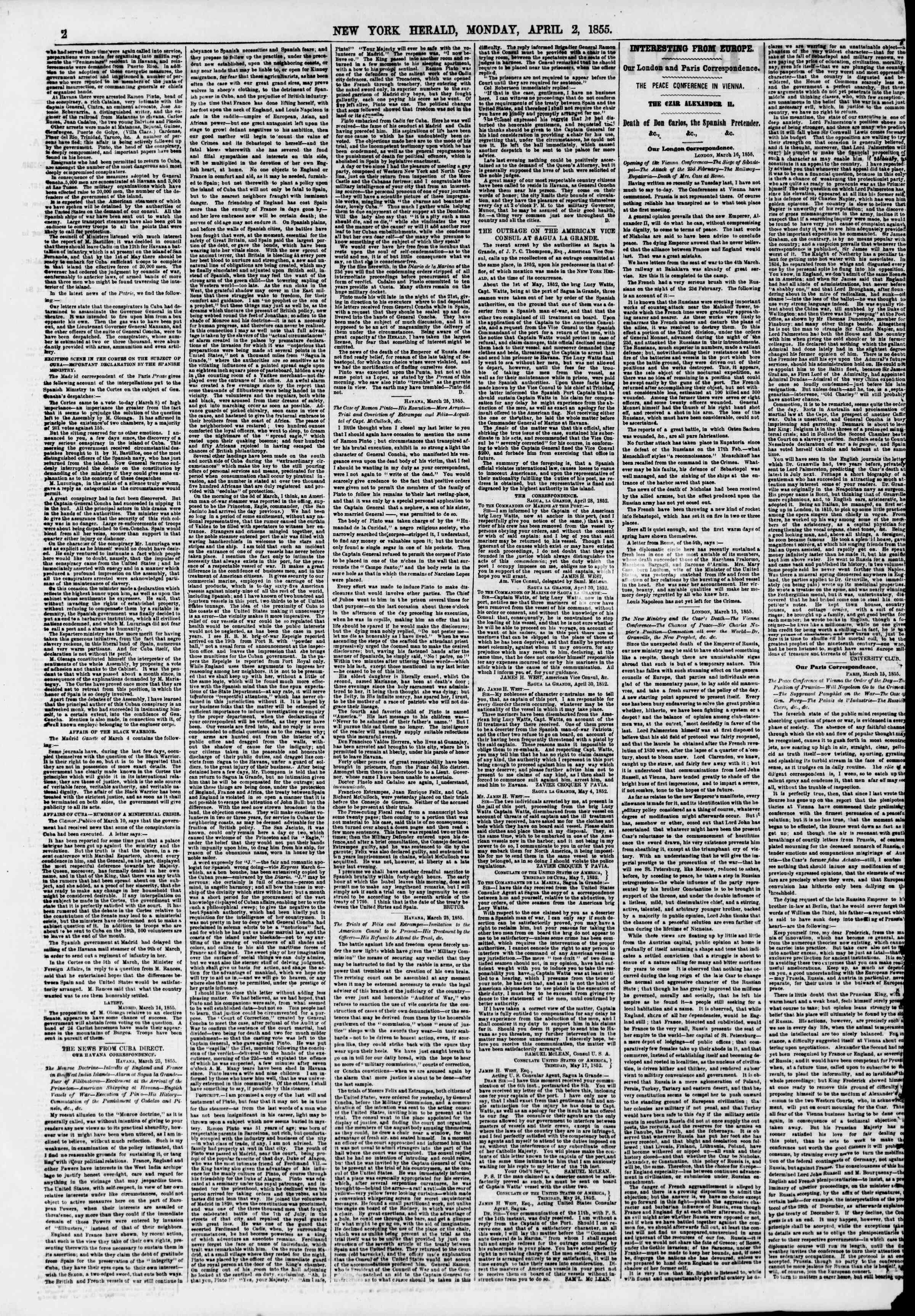 Newspaper of The New York Herald dated April 2, 1855 Page 2