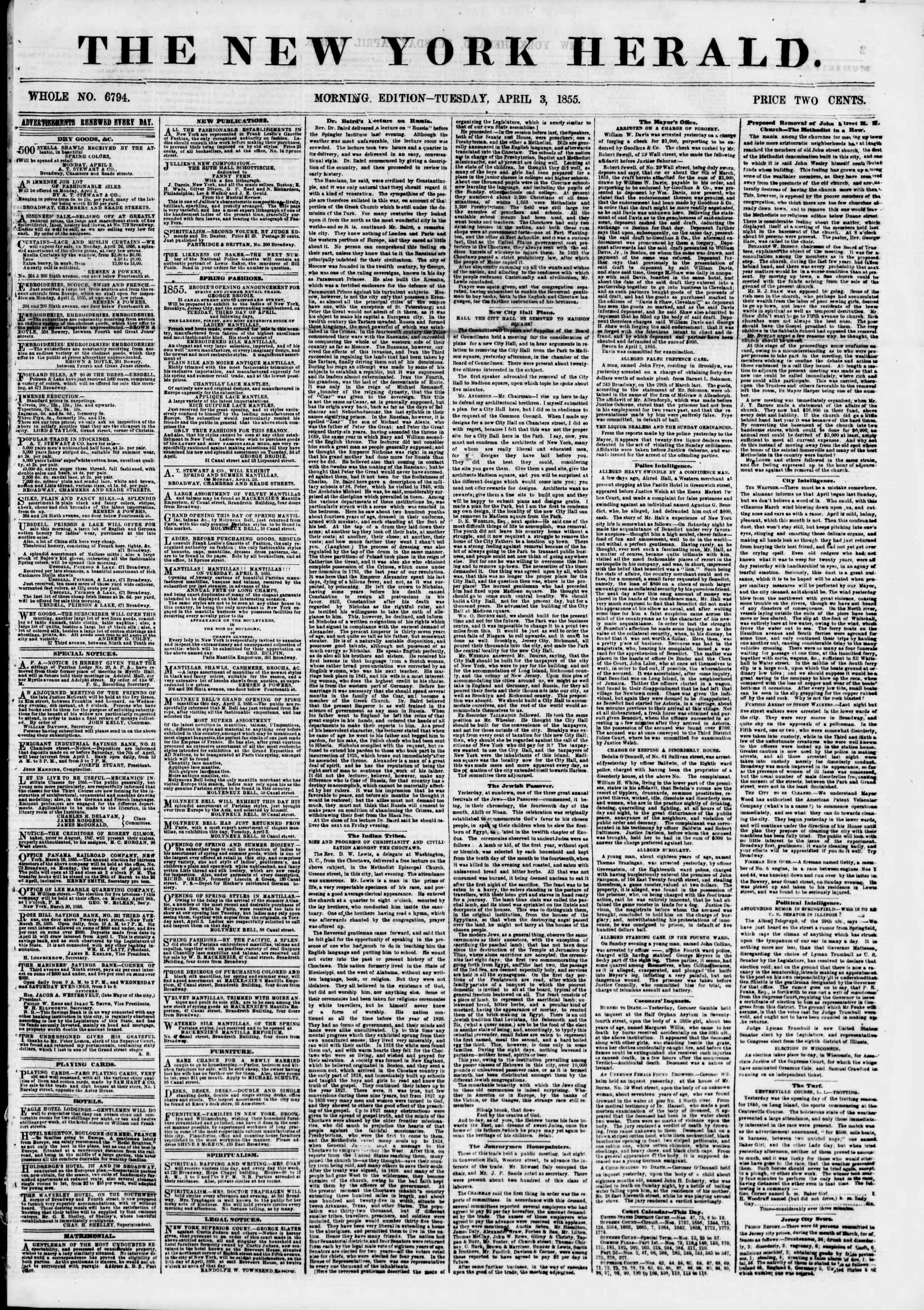 Newspaper of The New York Herald dated April 3, 1855 Page 1