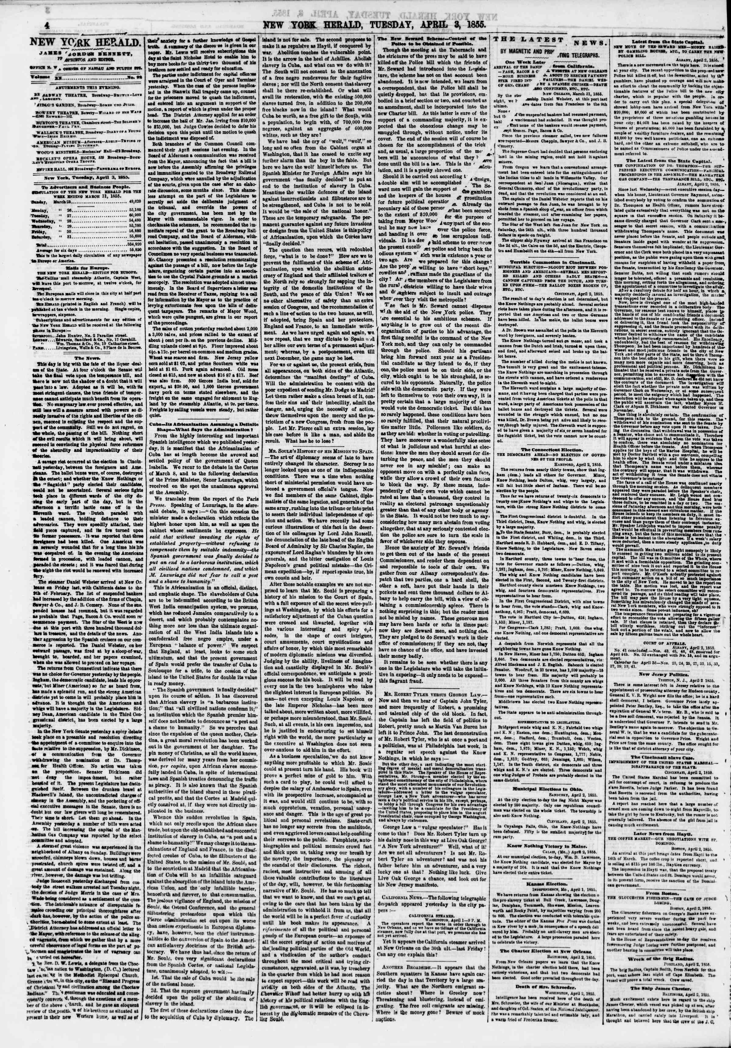 Newspaper of The New York Herald dated April 3, 1855 Page 4