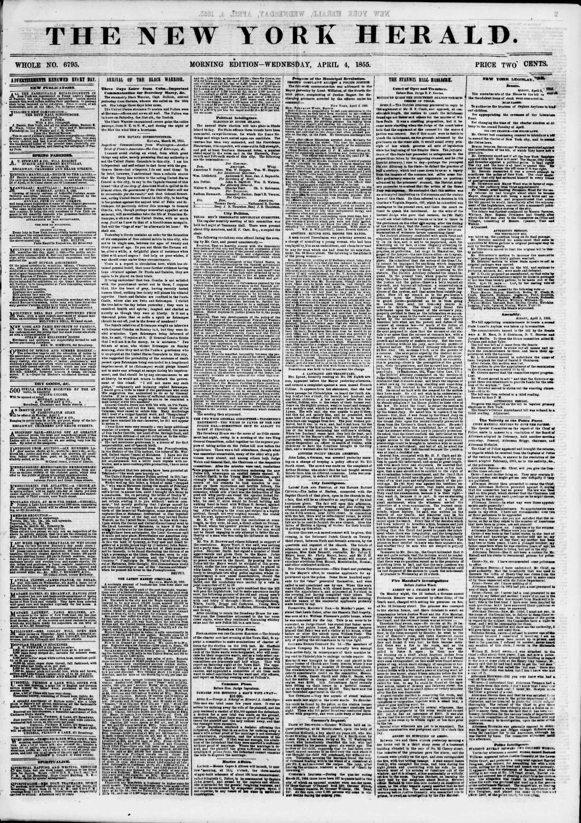 Newspaper of The New York Herald dated April 4, 1855 Page 1