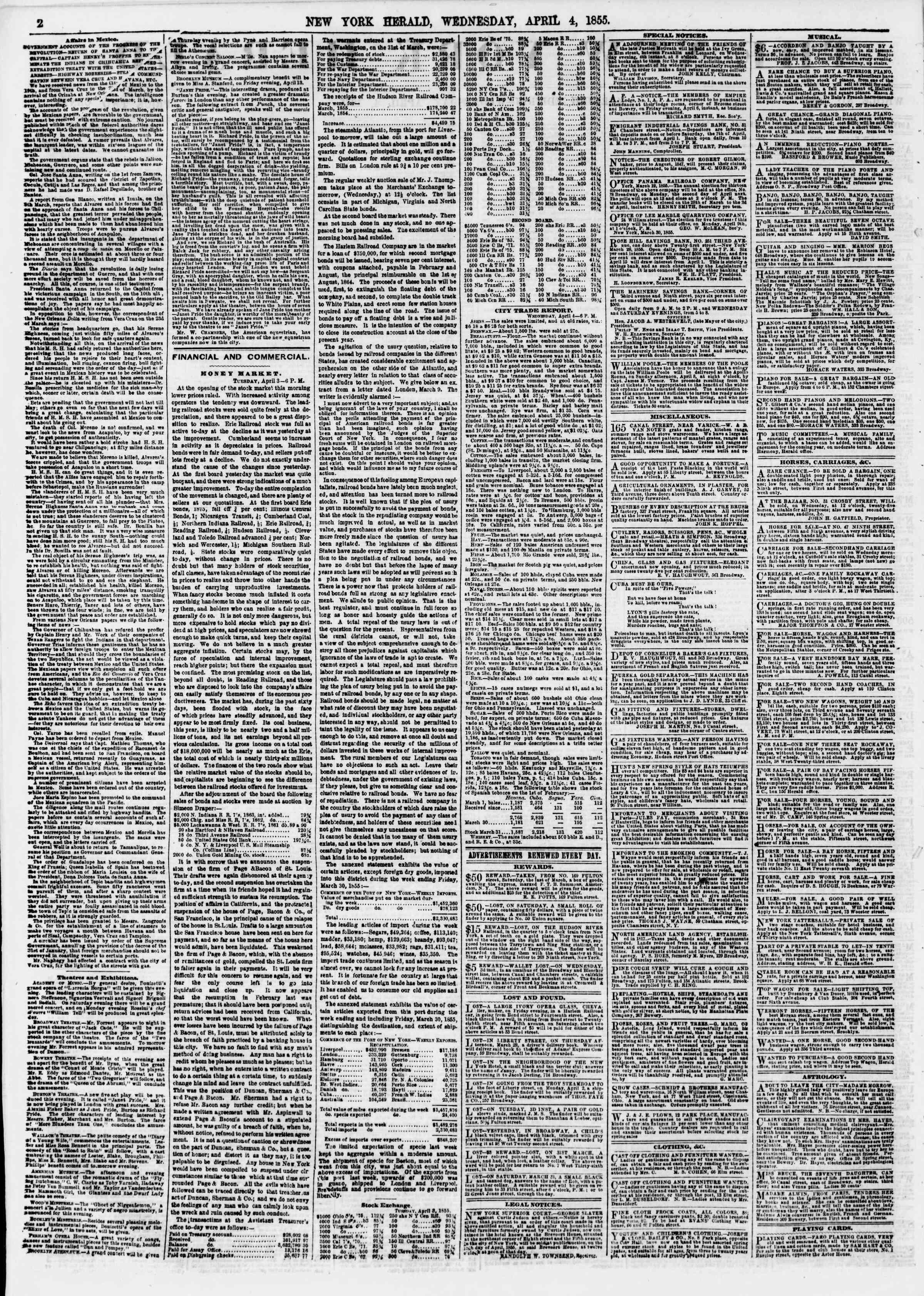 4 Nisan 1855 tarihli The New York Herald Gazetesi Sayfa 2