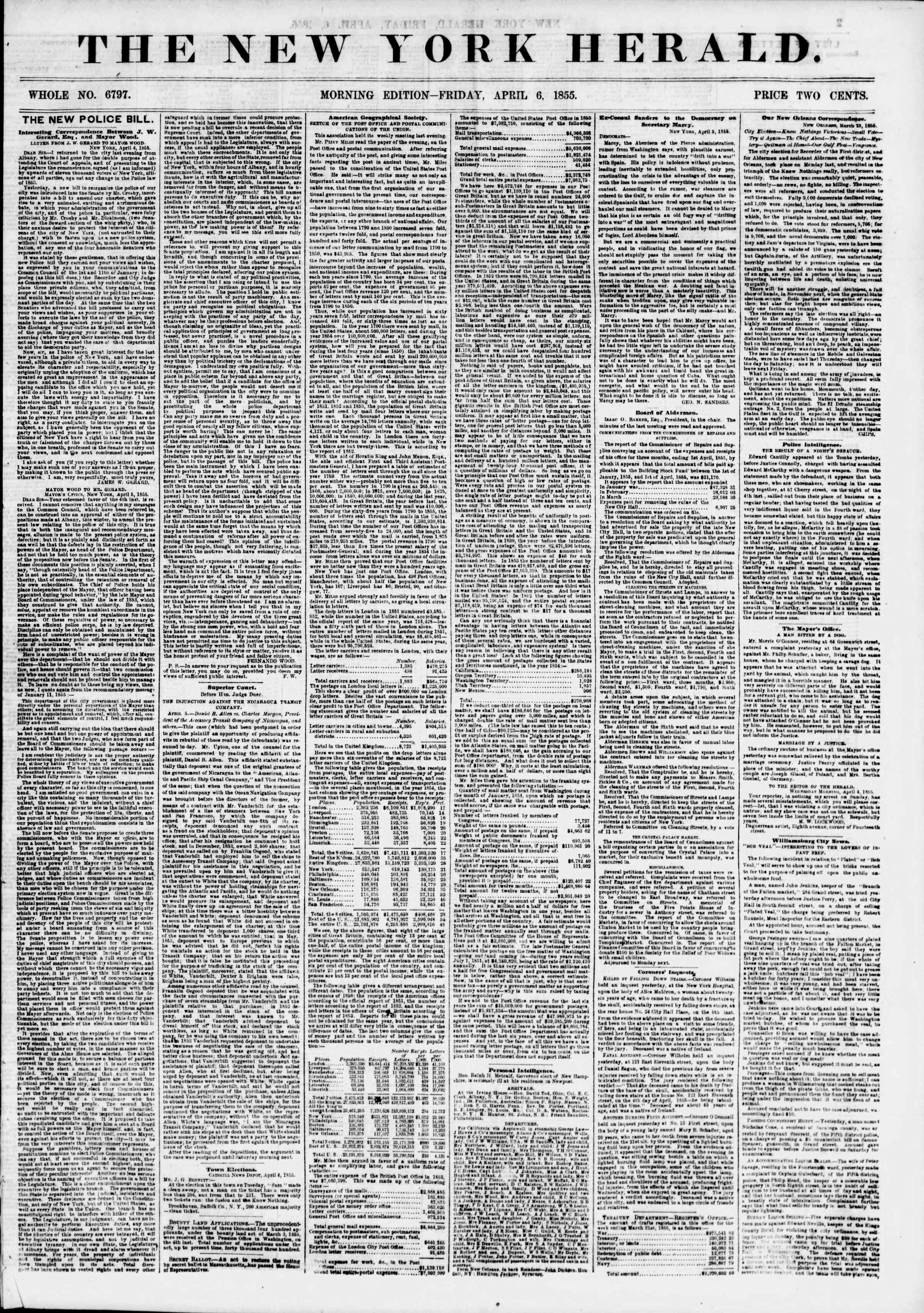 Newspaper of The New York Herald dated April 6, 1855 Page 1