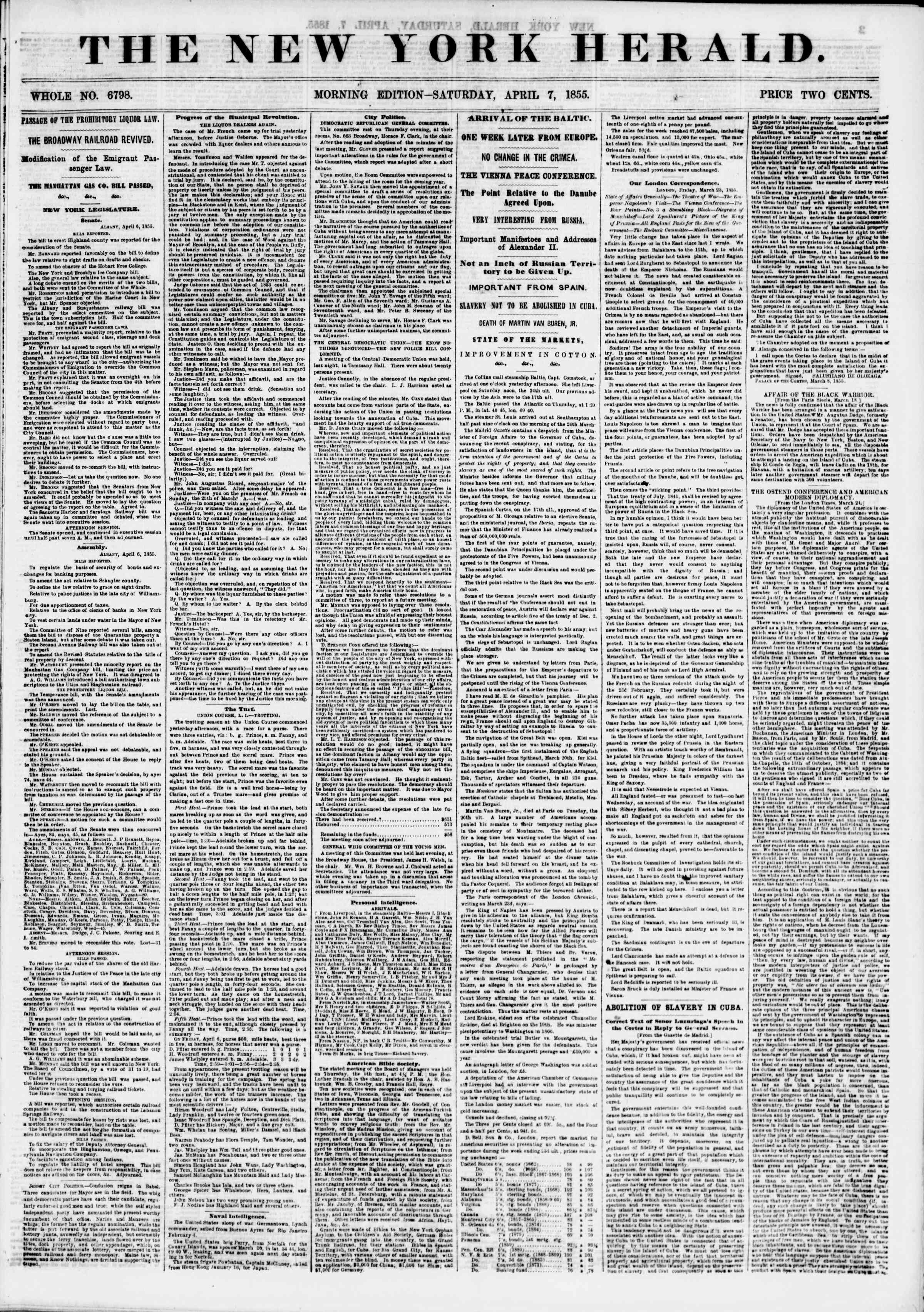 Newspaper of The New York Herald dated April 7, 1855 Page 1