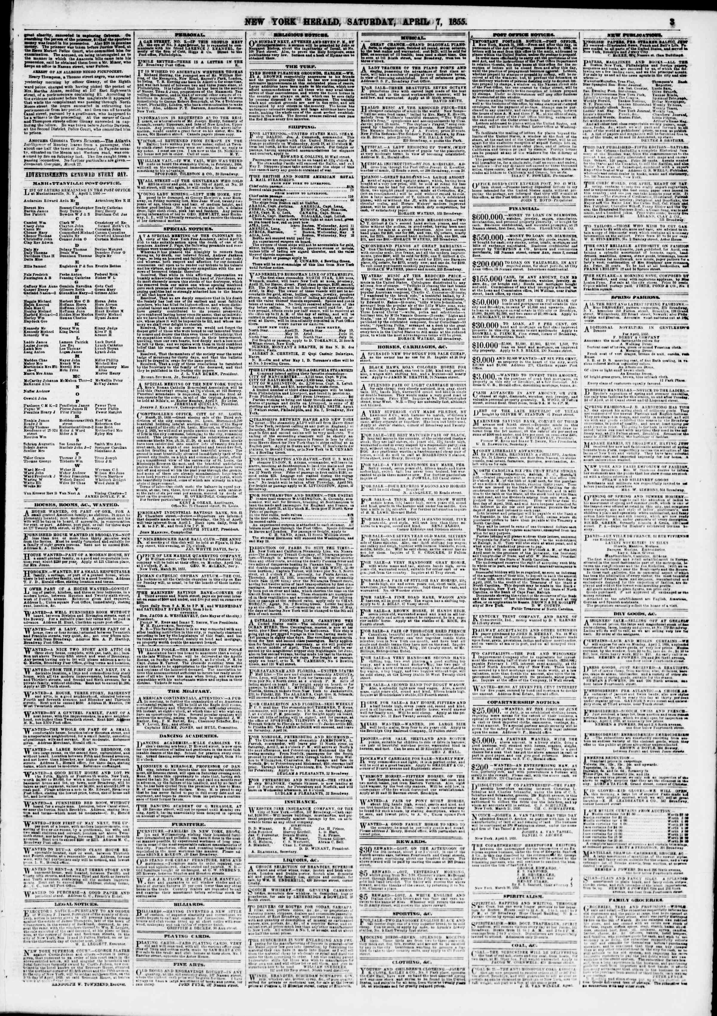 Newspaper of The New York Herald dated April 7, 1855 Page 3