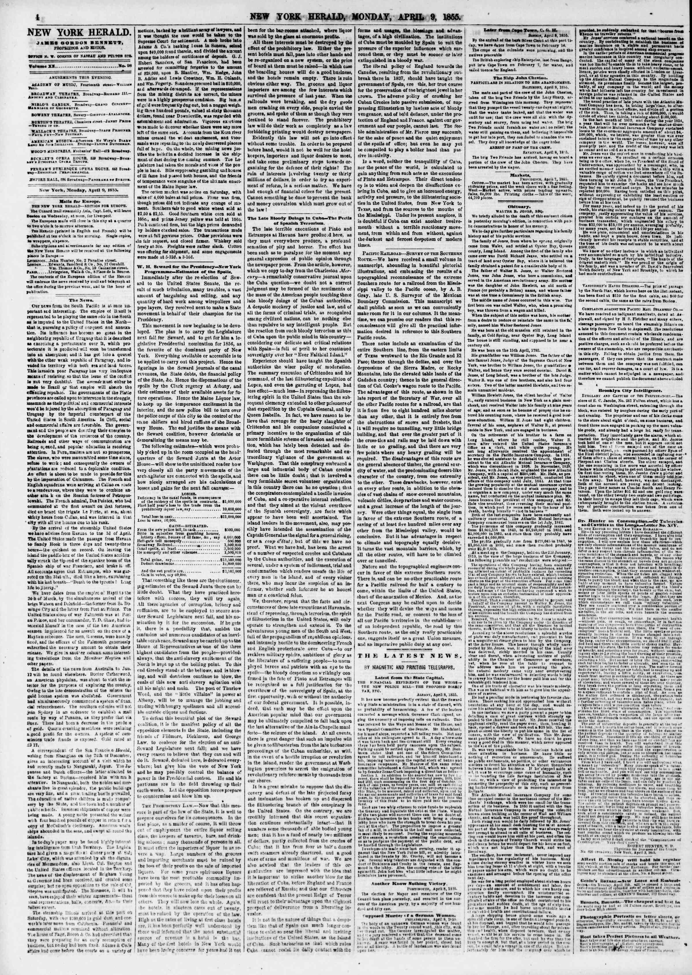 Newspaper of The New York Herald dated April 9, 1855 Page 4