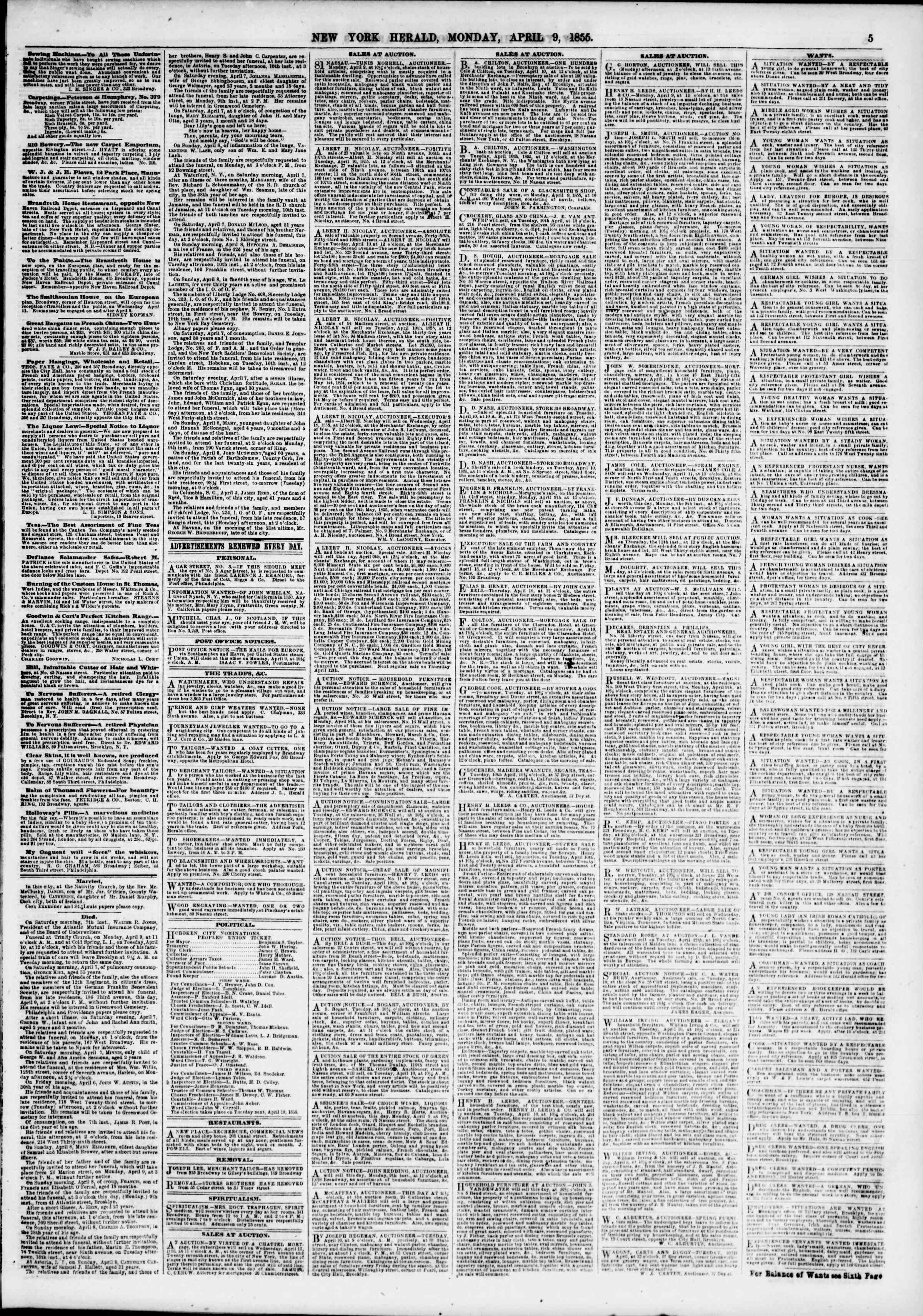 Newspaper of The New York Herald dated April 9, 1855 Page 5