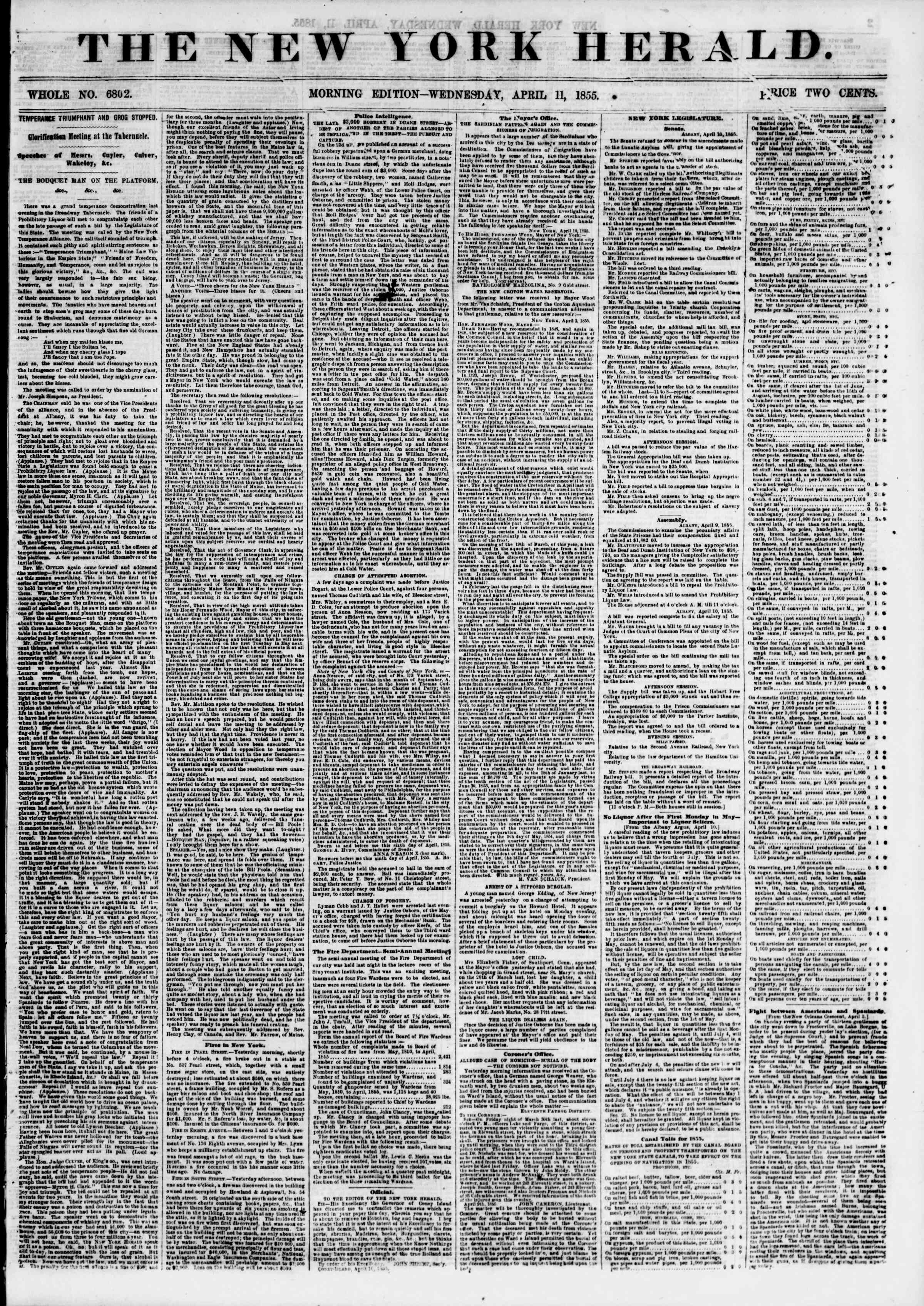 Newspaper of The New York Herald dated April 11, 1855 Page 1