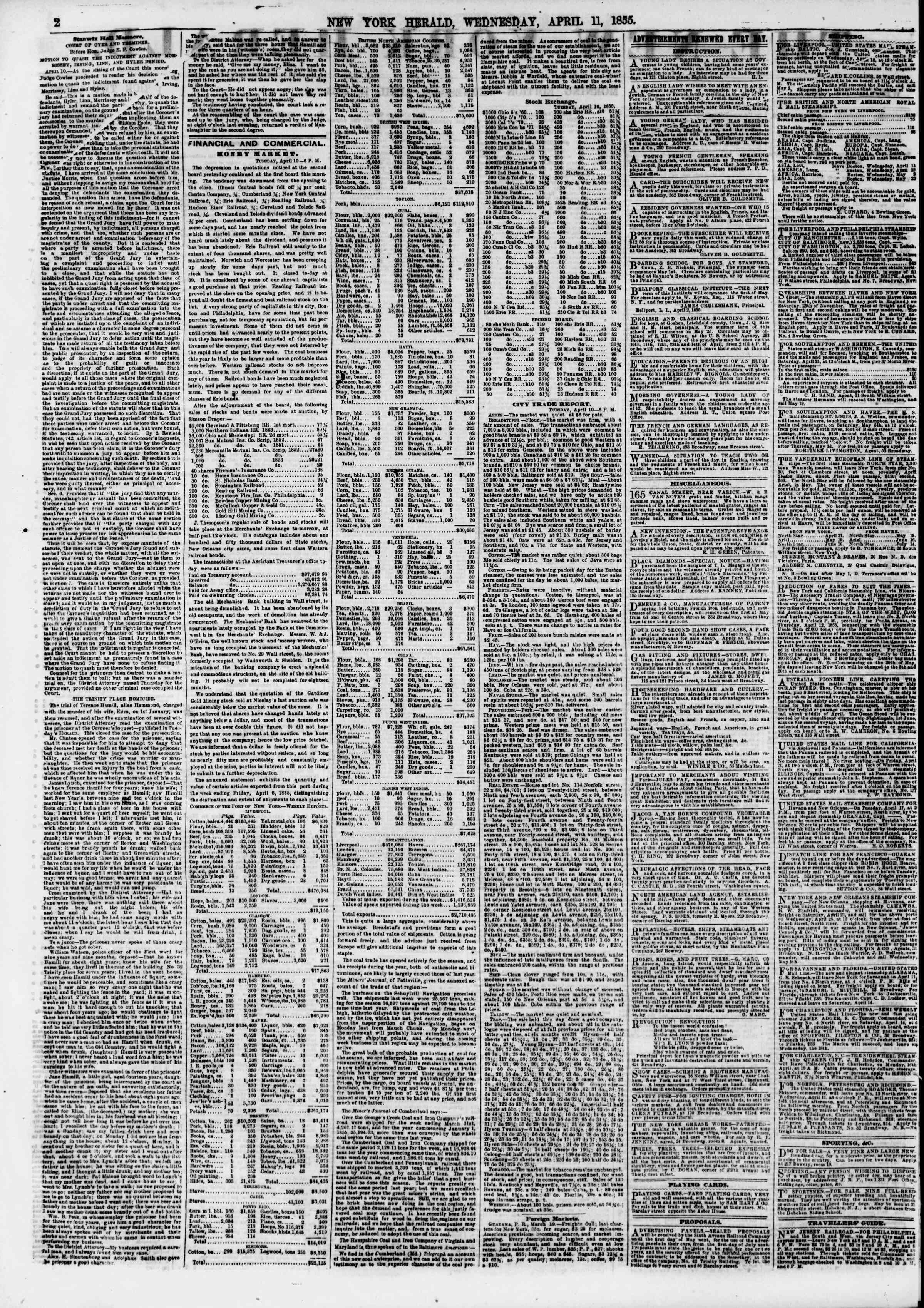 Newspaper of The New York Herald dated April 11, 1855 Page 2