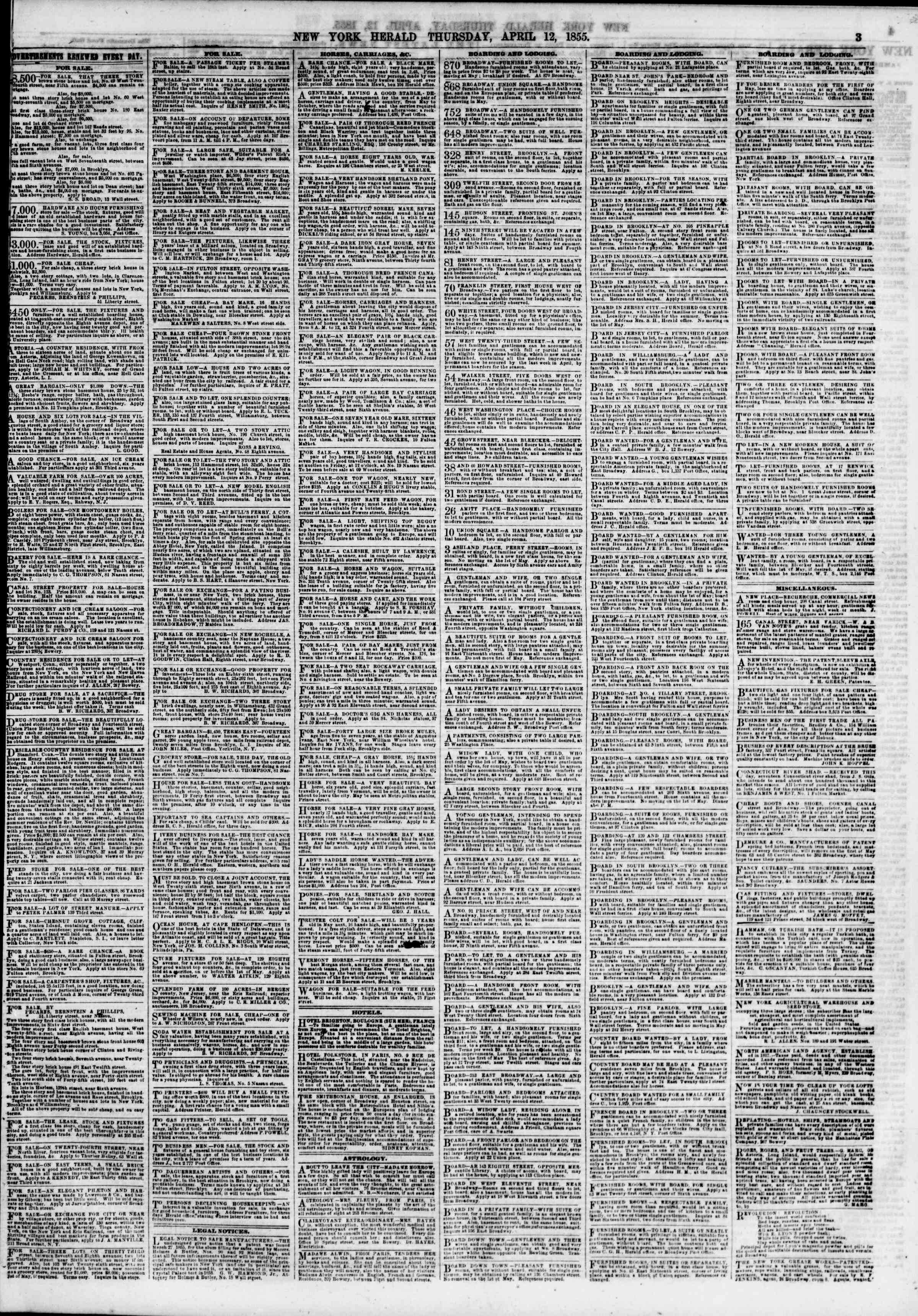 Newspaper of The New York Herald dated April 12, 1855 Page 3