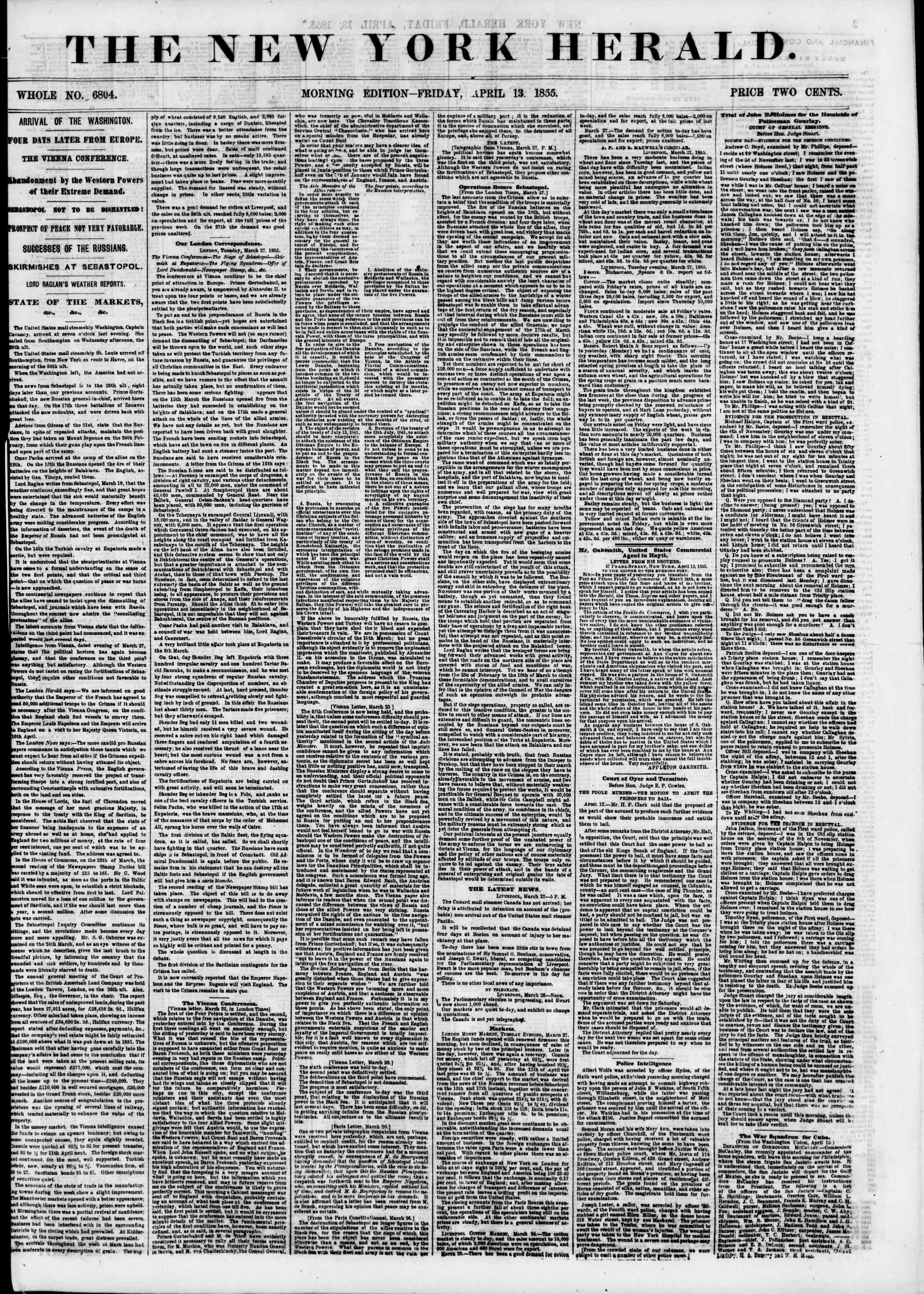 Newspaper of The New York Herald dated April 13, 1855 Page 1