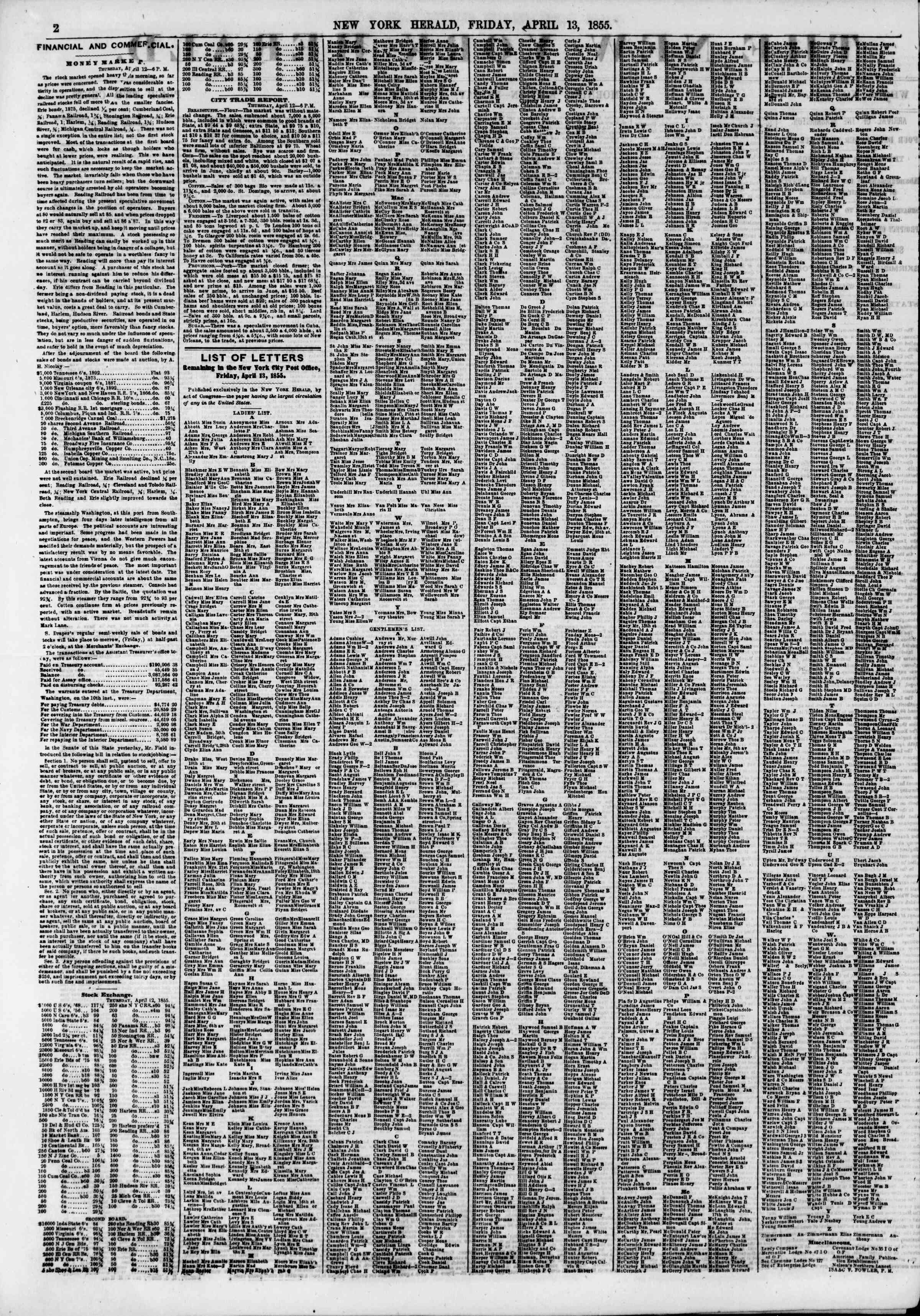 Newspaper of The New York Herald dated April 13, 1855 Page 2