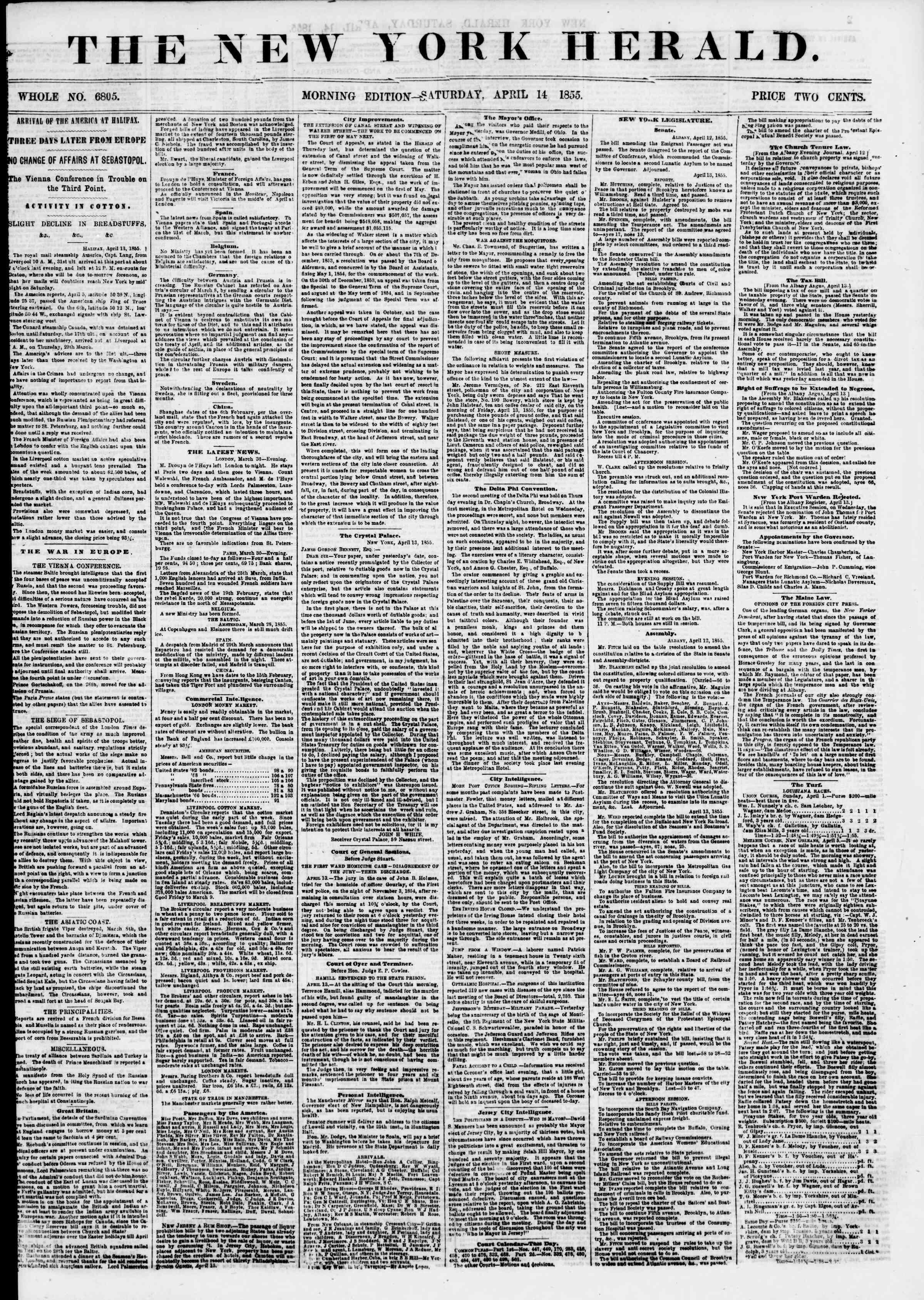 Newspaper of The New York Herald dated April 14, 1855 Page 1
