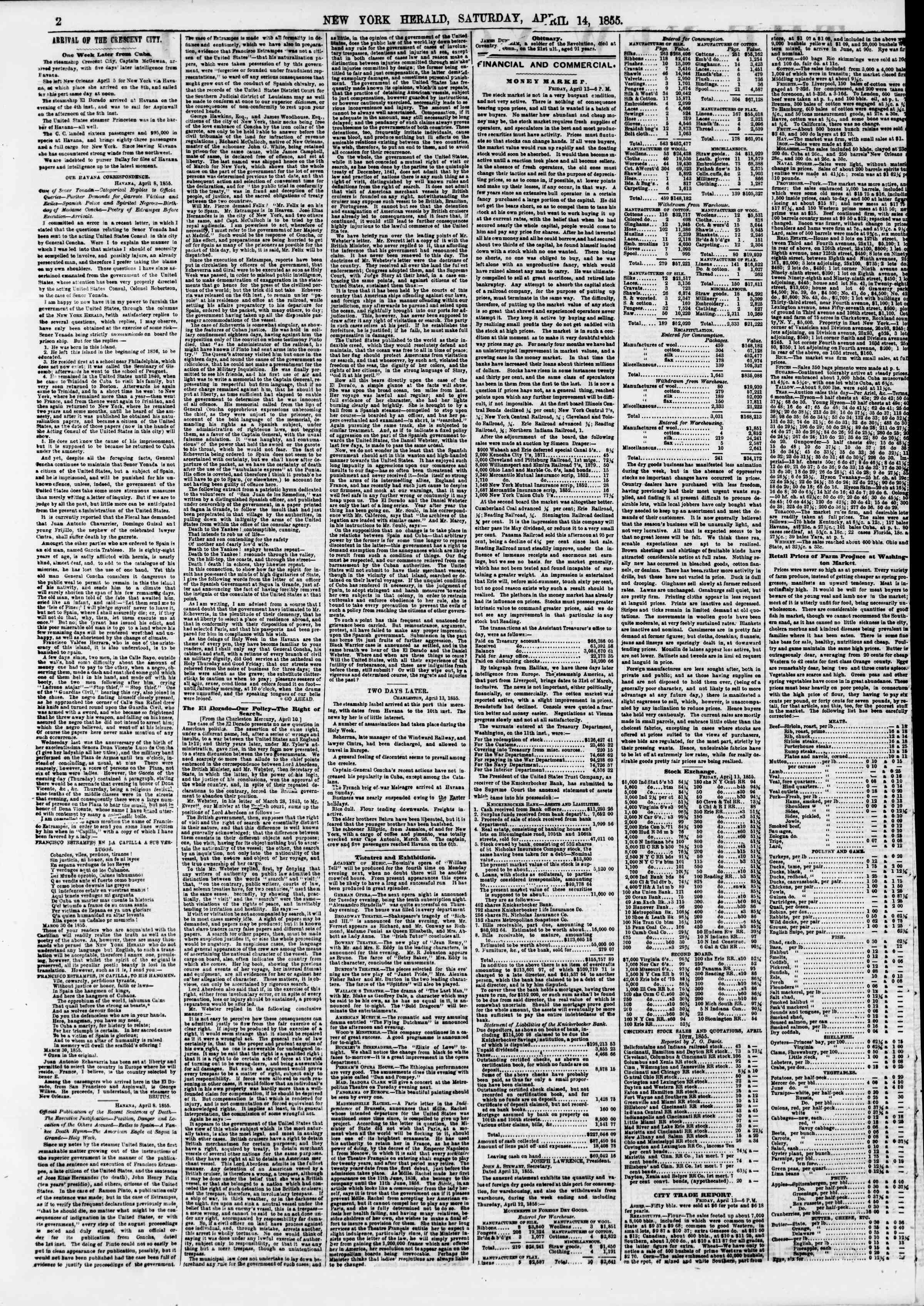 Newspaper of The New York Herald dated April 14, 1855 Page 2
