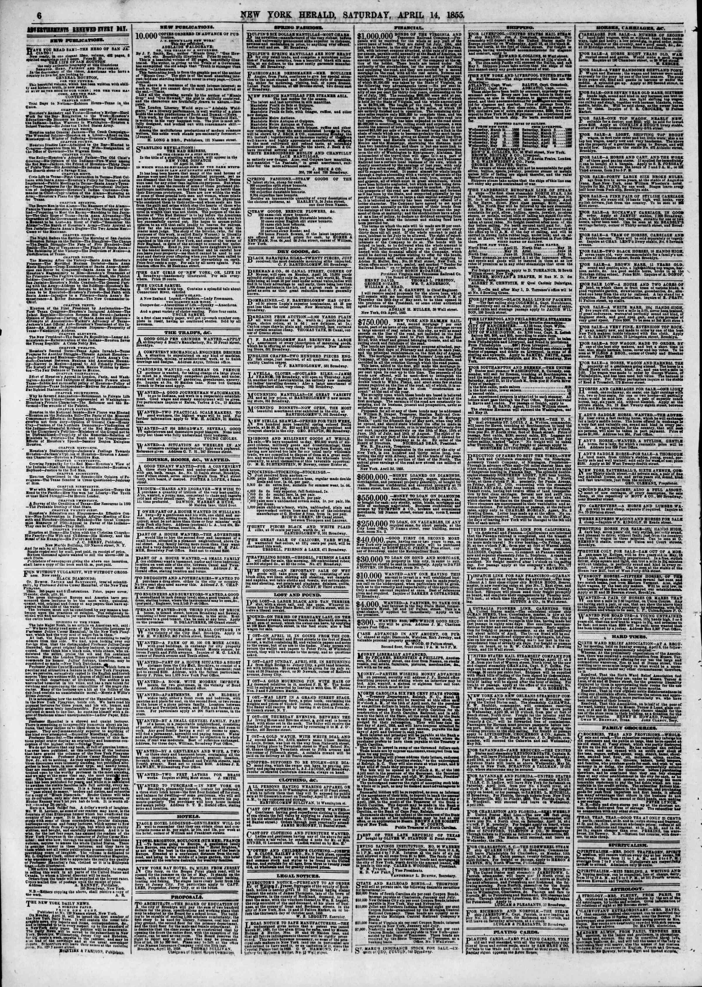 Newspaper of The New York Herald dated April 14, 1855 Page 6