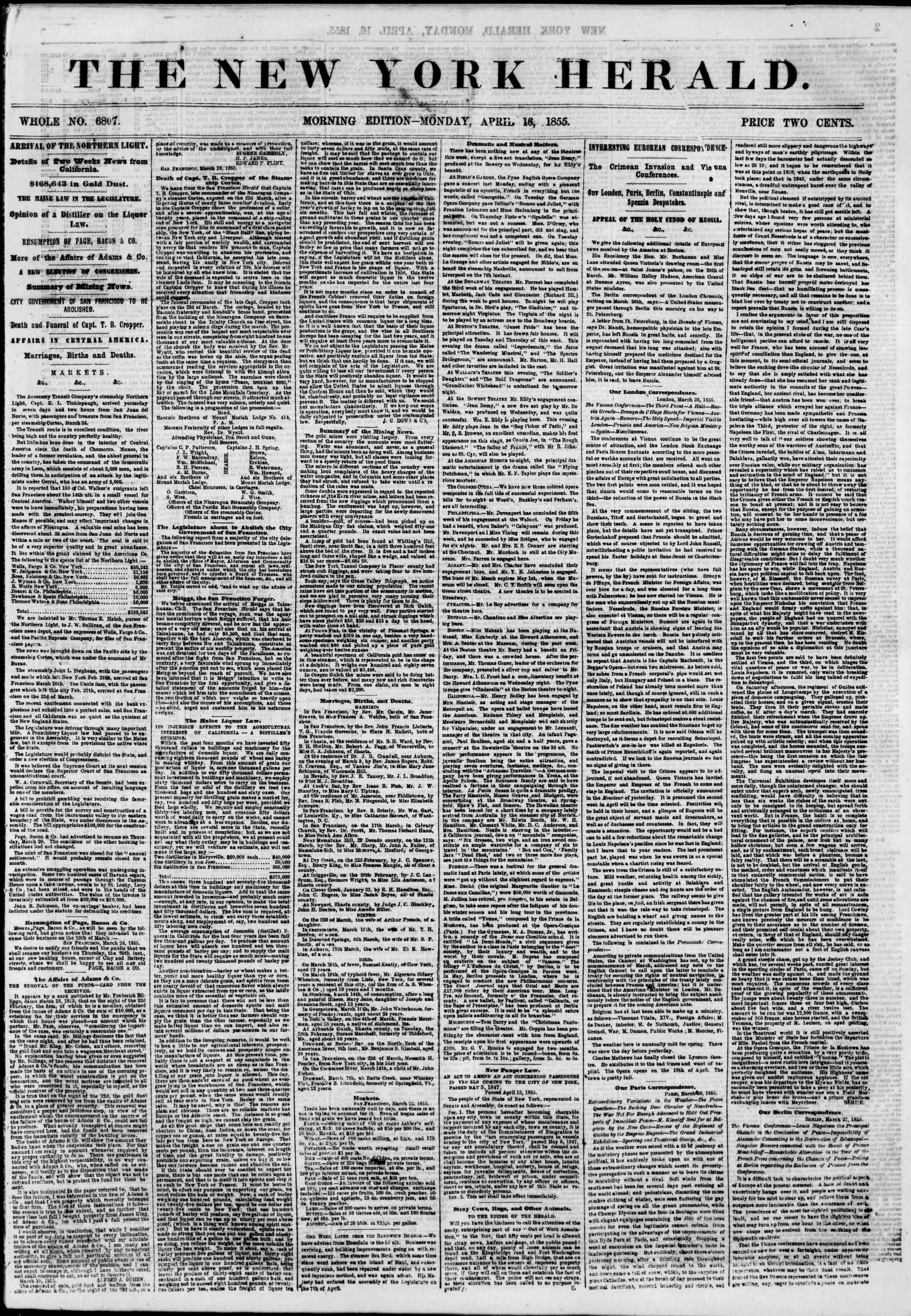 Newspaper of The New York Herald dated April 16, 1855 Page 1