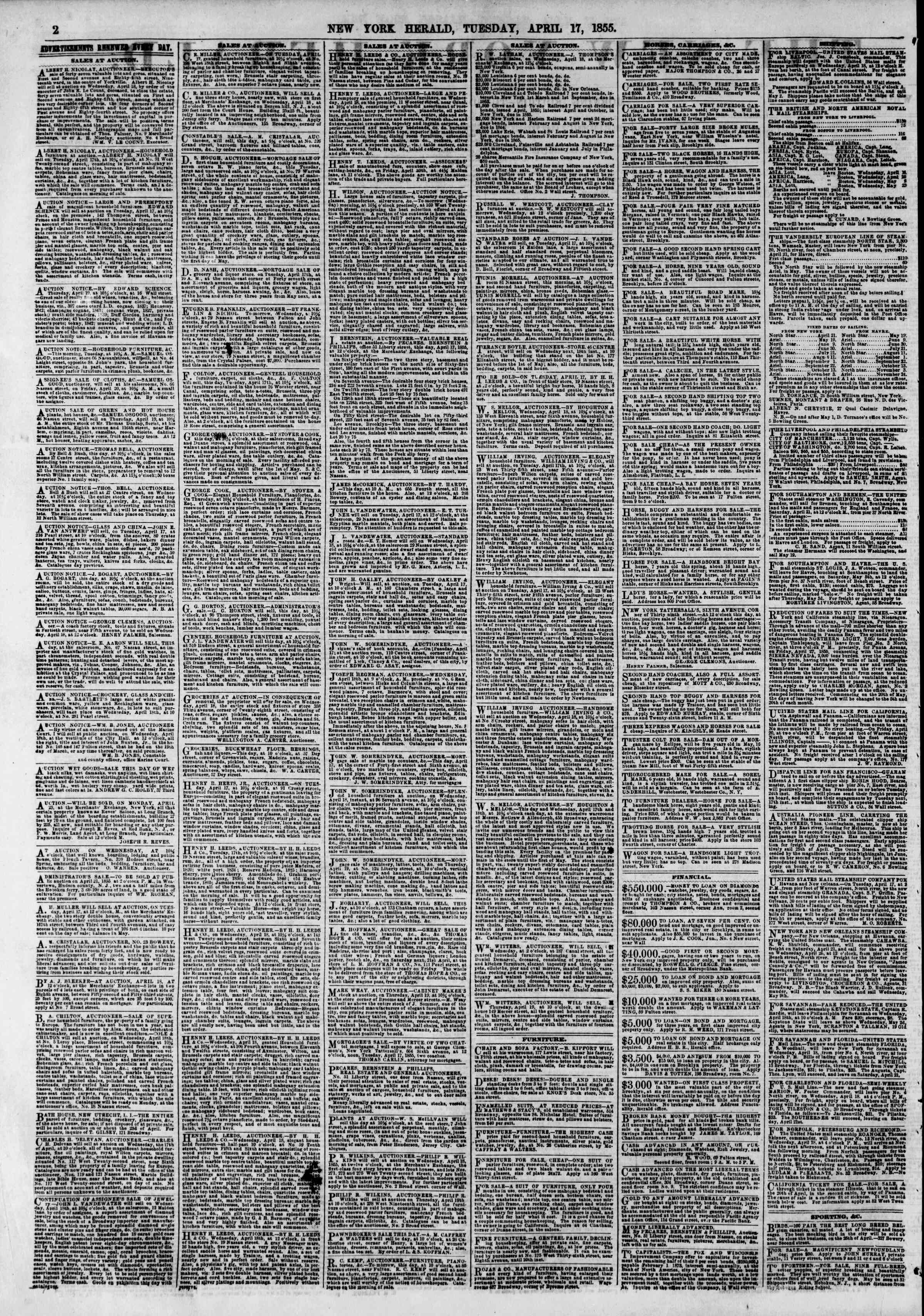 Newspaper of The New York Herald dated April 17, 1855 Page 2