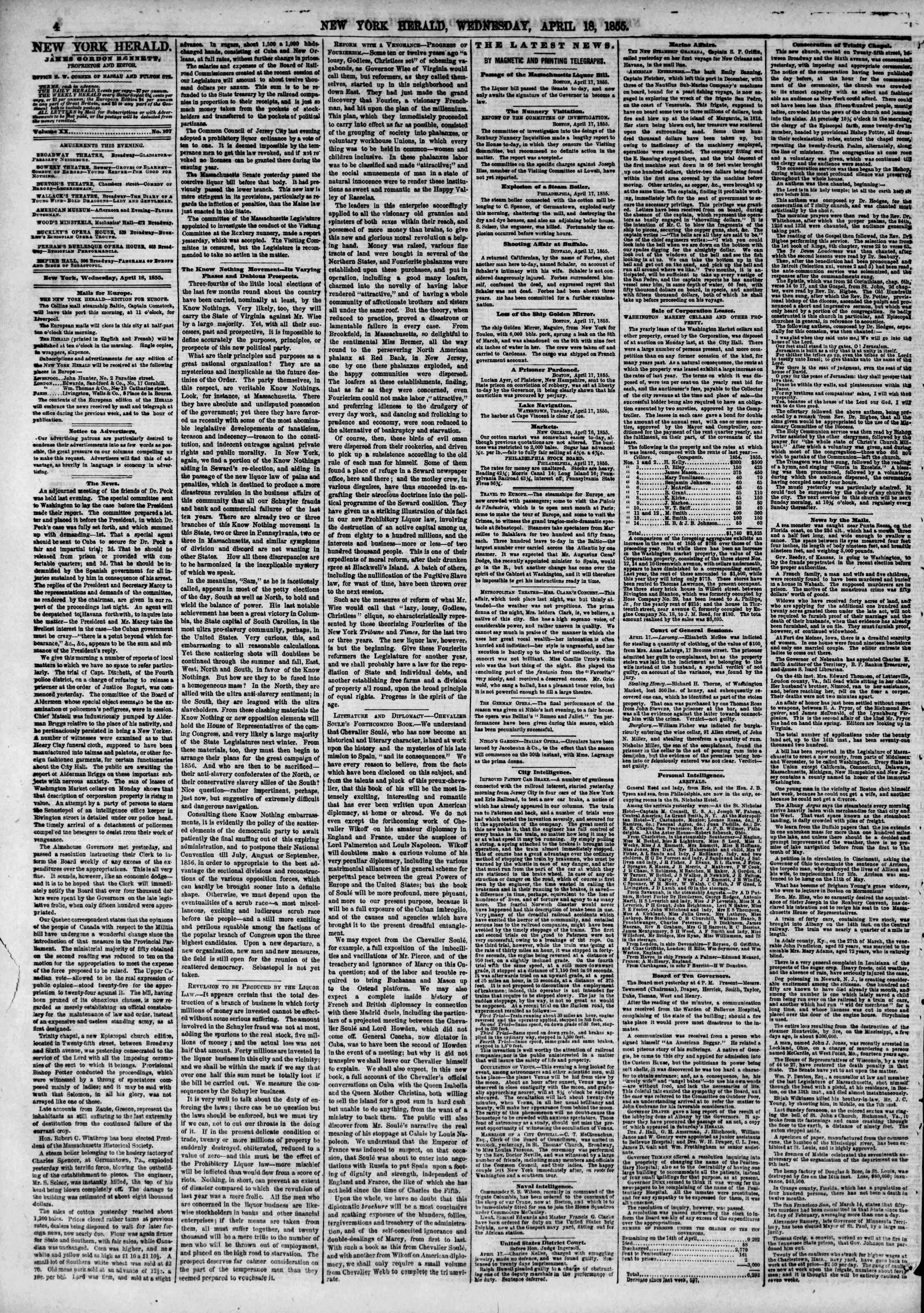 Newspaper of The New York Herald dated April 18, 1855 Page 4