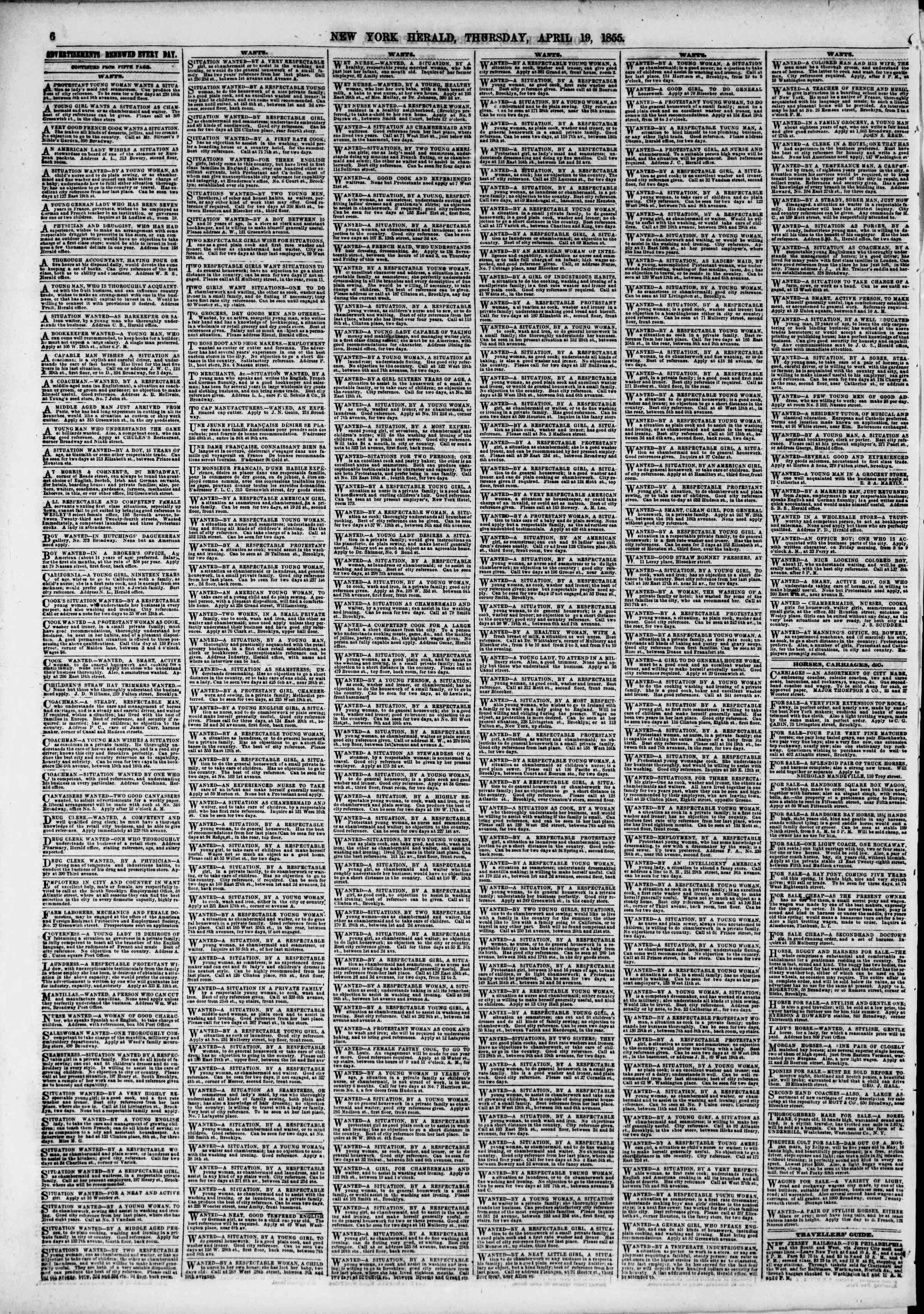 Newspaper of The New York Herald dated April 19, 1855 Page 6