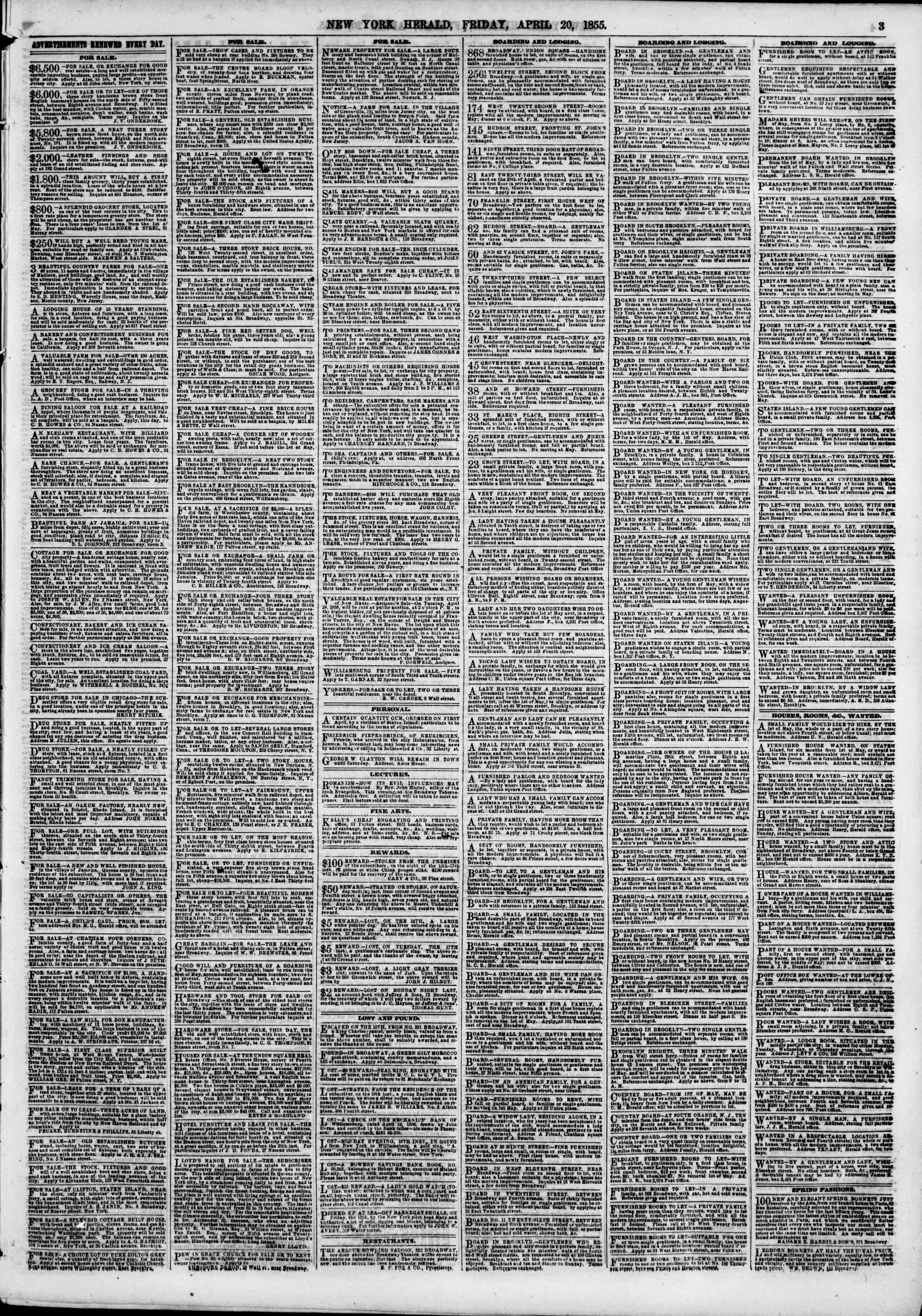 Newspaper of The New York Herald dated April 20, 1855 Page 3
