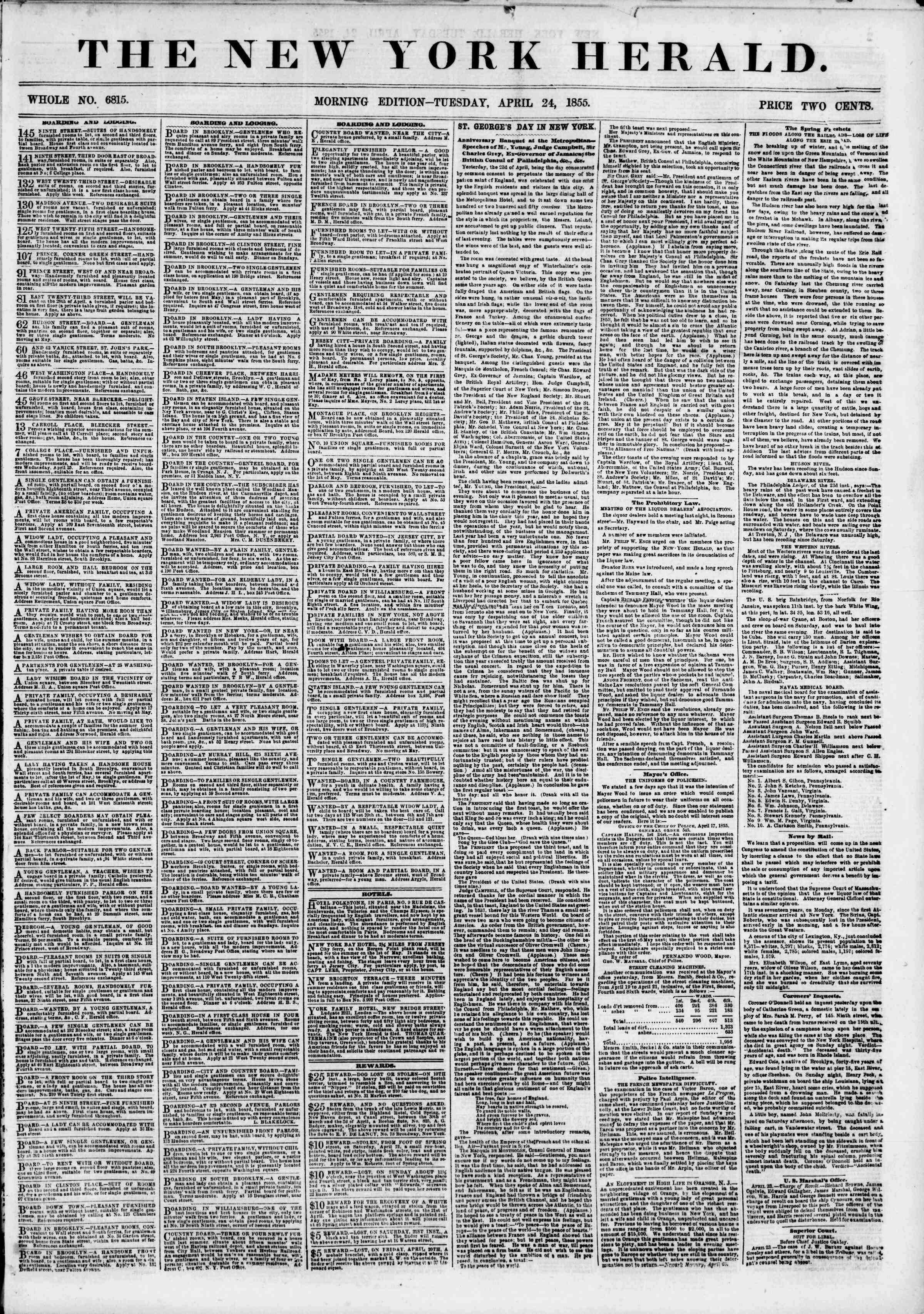 Newspaper of The New York Herald dated April 24, 1855 Page 1