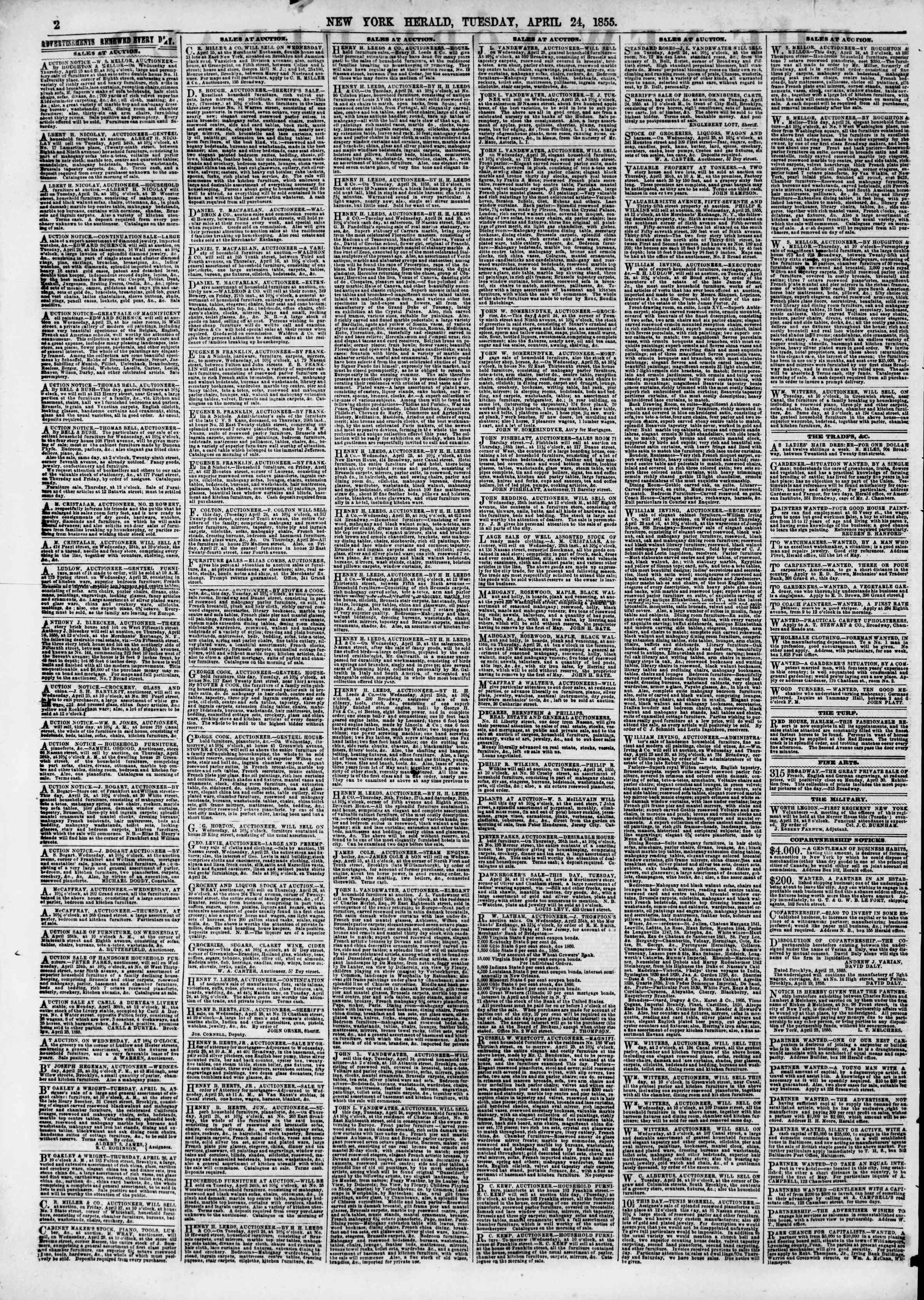Newspaper of The New York Herald dated April 24, 1855 Page 2