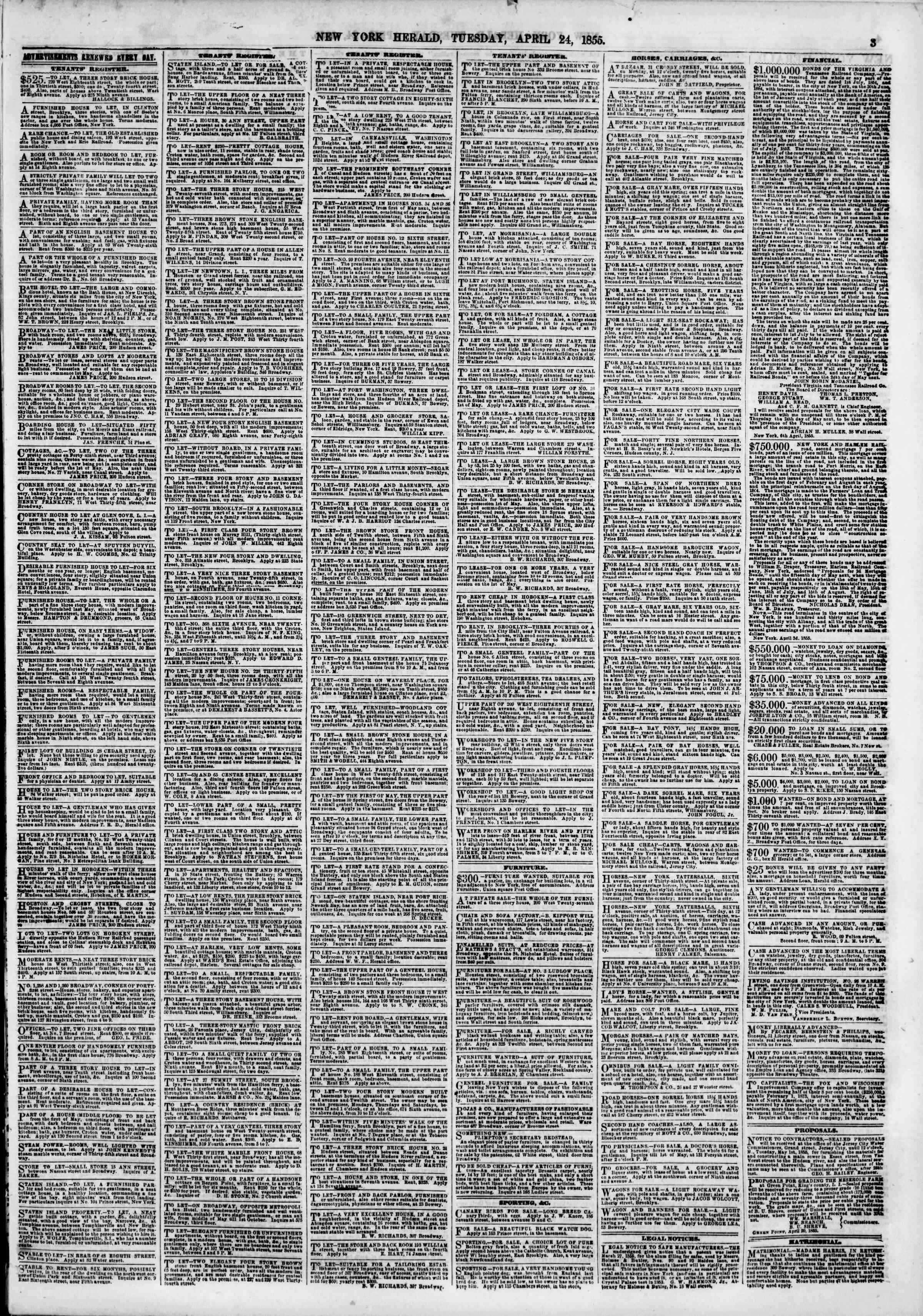 Newspaper of The New York Herald dated April 24, 1855 Page 3