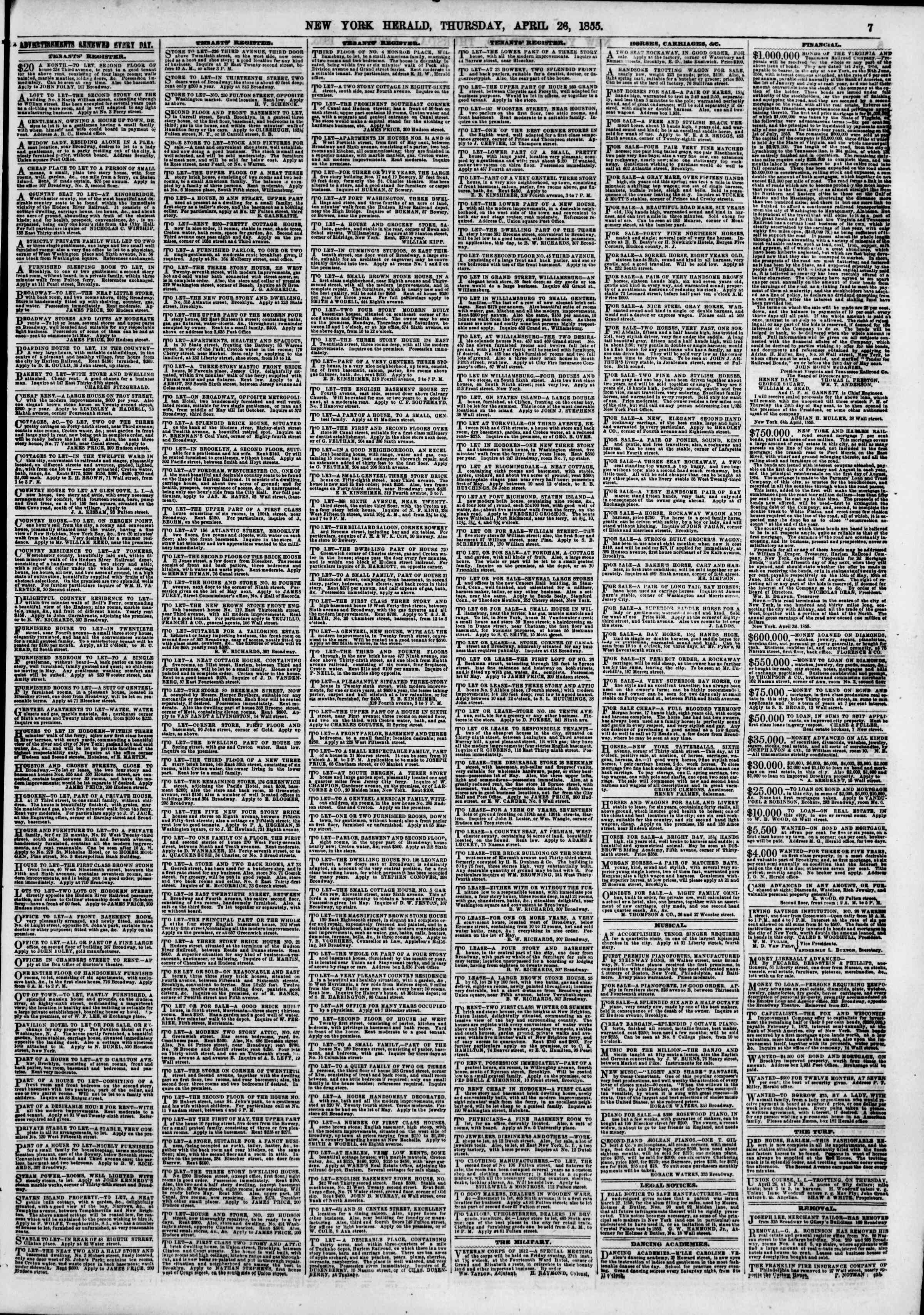 Newspaper of The New York Herald dated April 26, 1855 Page 7