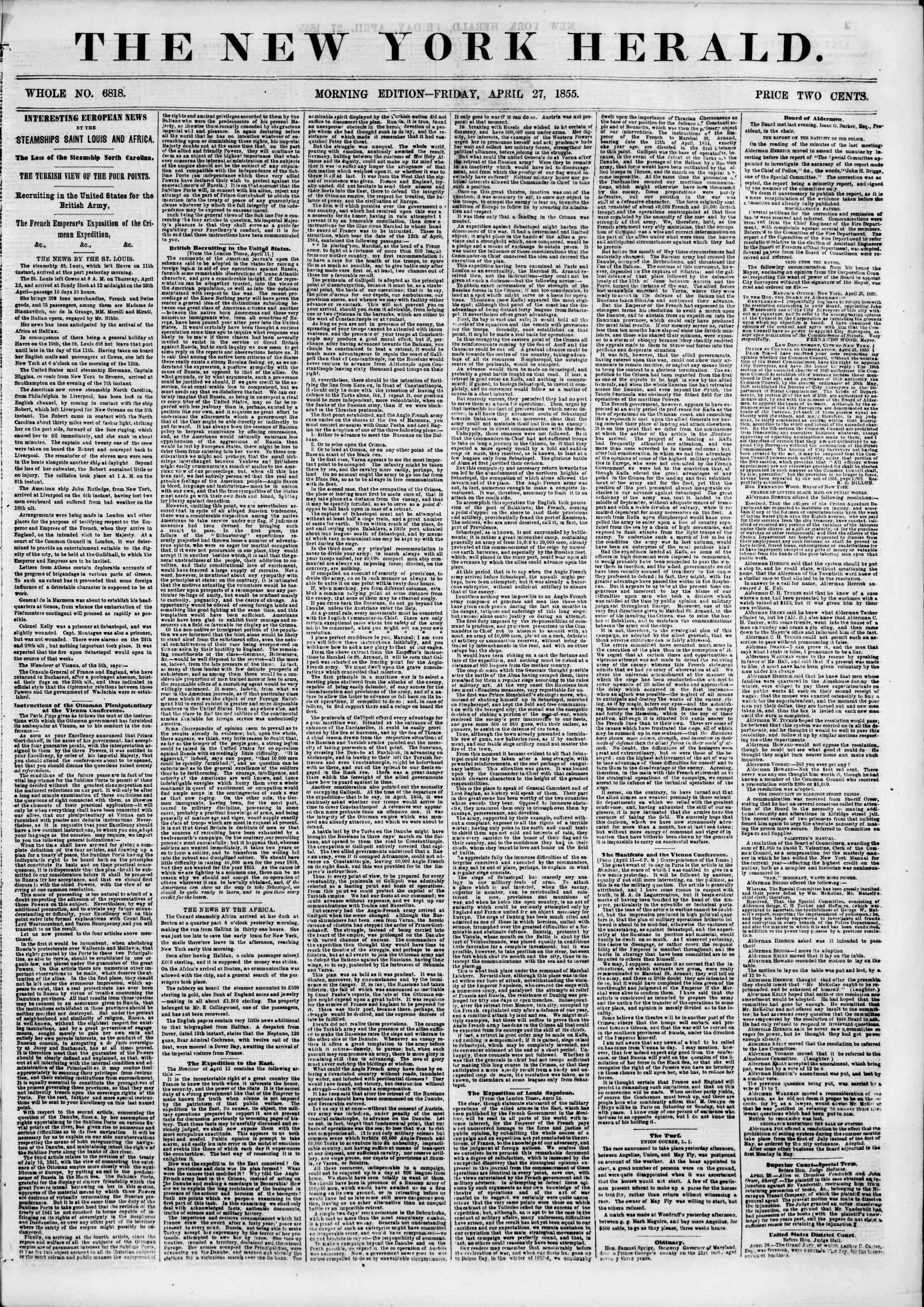 Newspaper of The New York Herald dated April 27, 1855 Page 1
