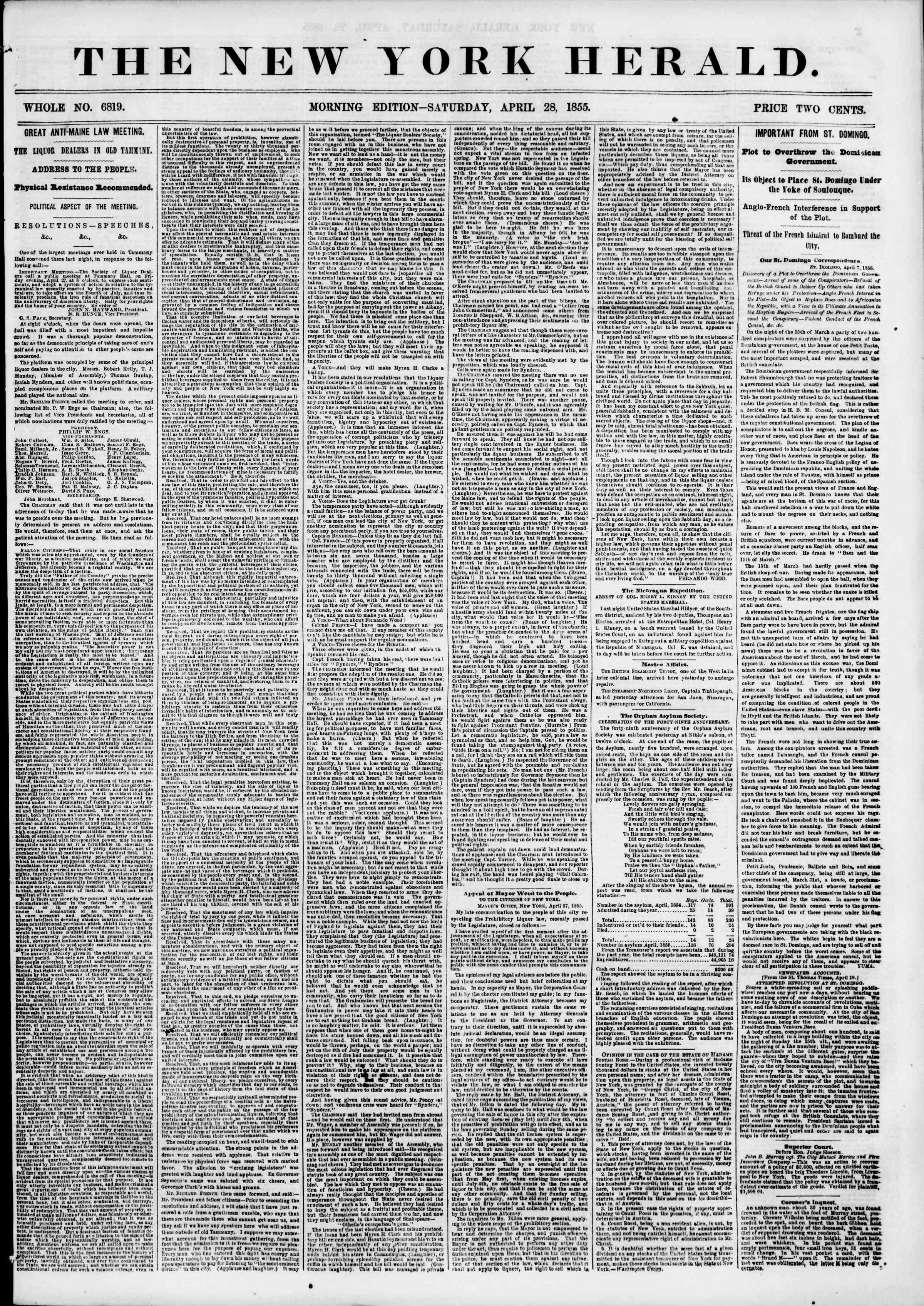 Newspaper of The New York Herald dated April 28, 1855 Page 1