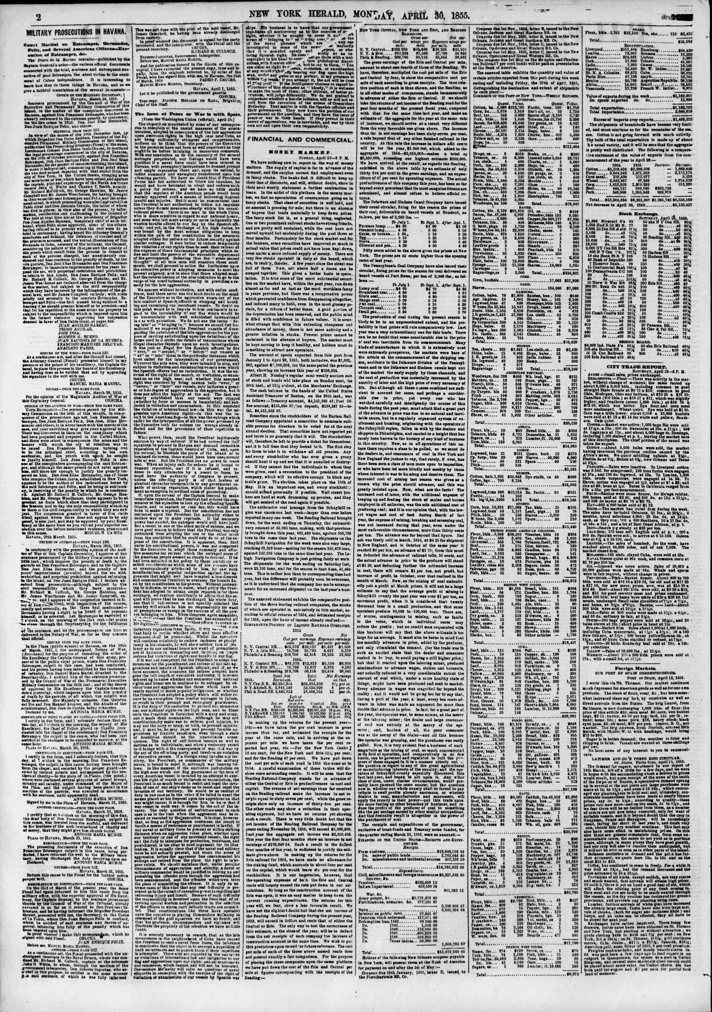 Newspaper of The New York Herald dated April 30, 1855 Page 2
