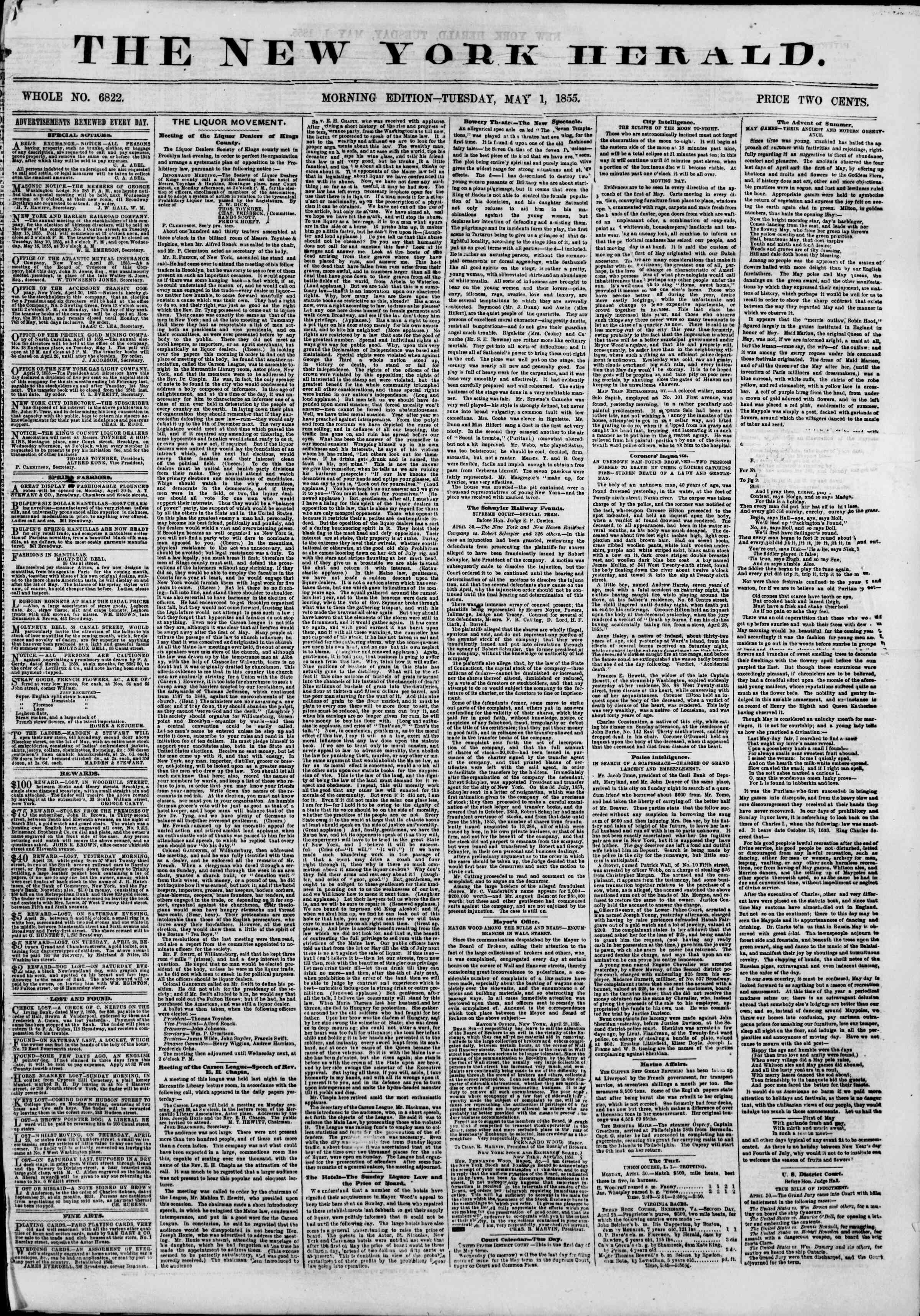 Newspaper of The New York Herald dated May 1, 1855 Page 1