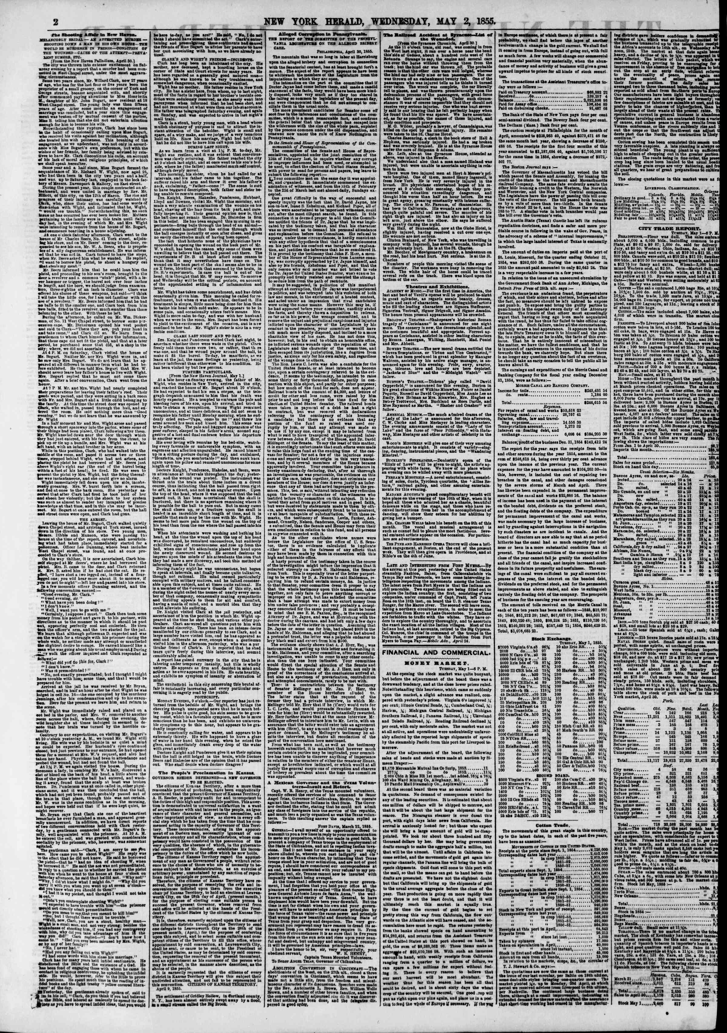 Newspaper of The New York Herald dated May 2, 1855 Page 2