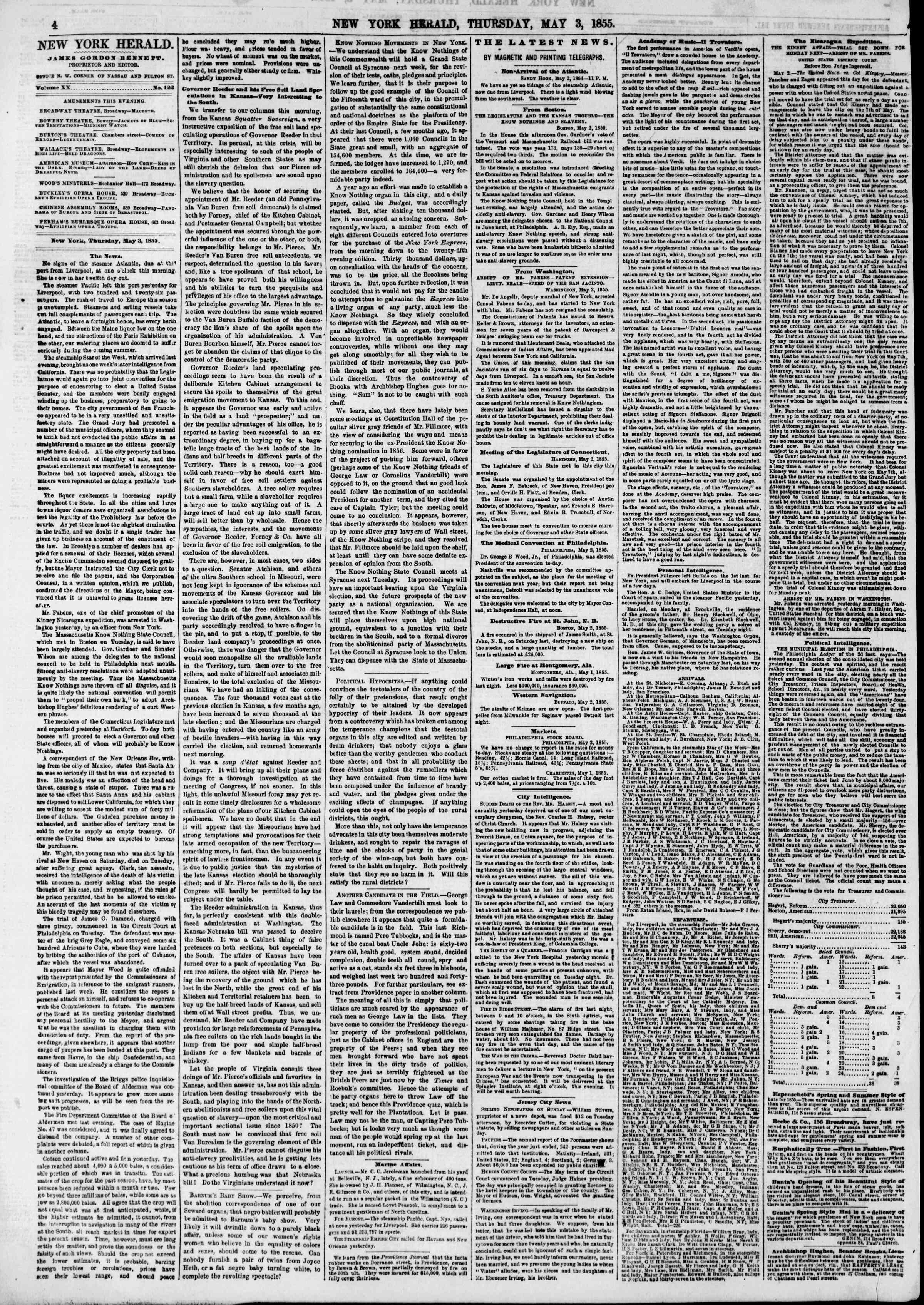 Newspaper of The New York Herald dated May 3, 1855 Page 4