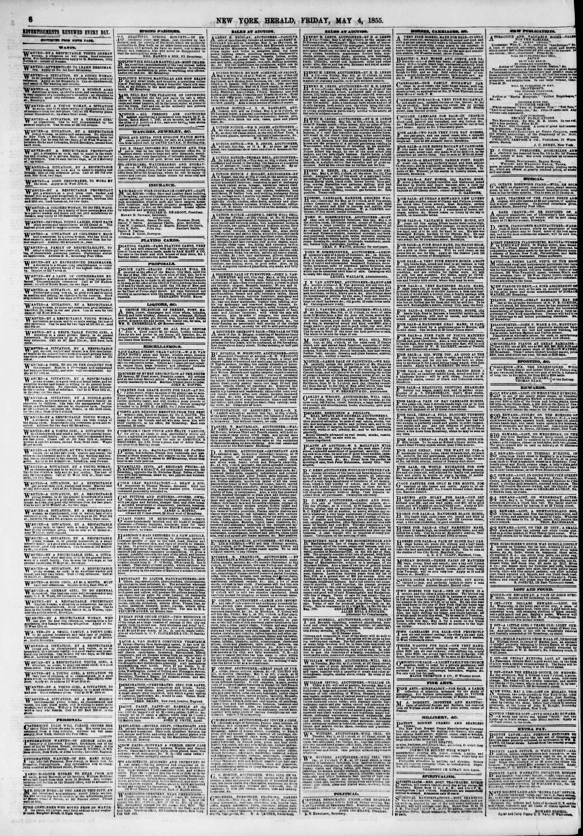 Newspaper of The New York Herald dated May 4, 1855 Page 6