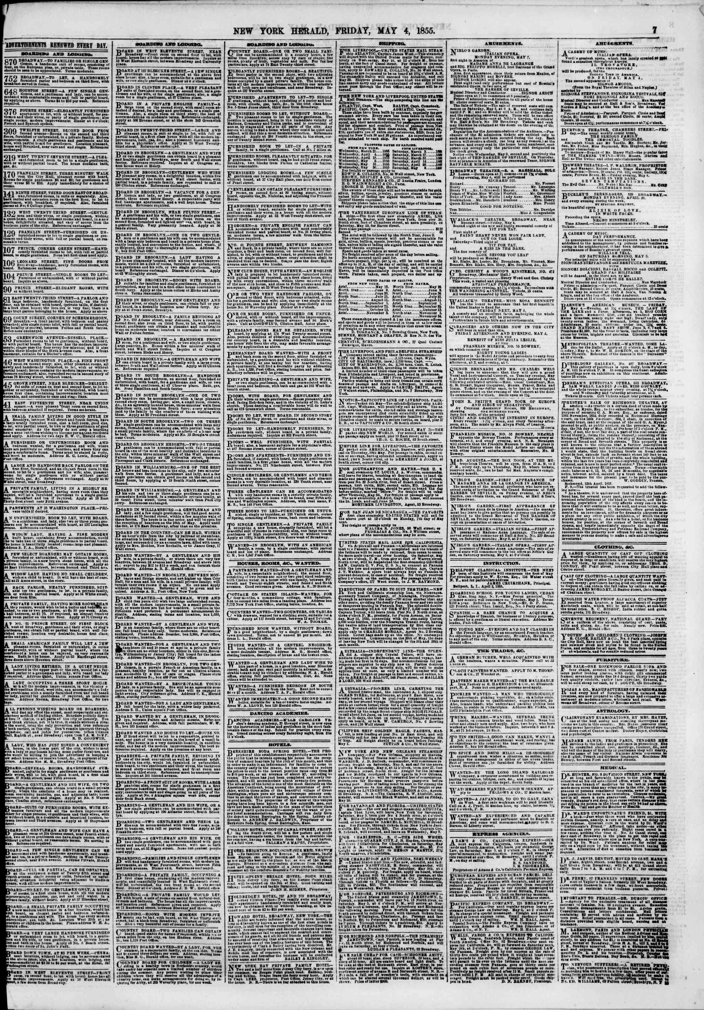 Newspaper of The New York Herald dated May 4, 1855 Page 7