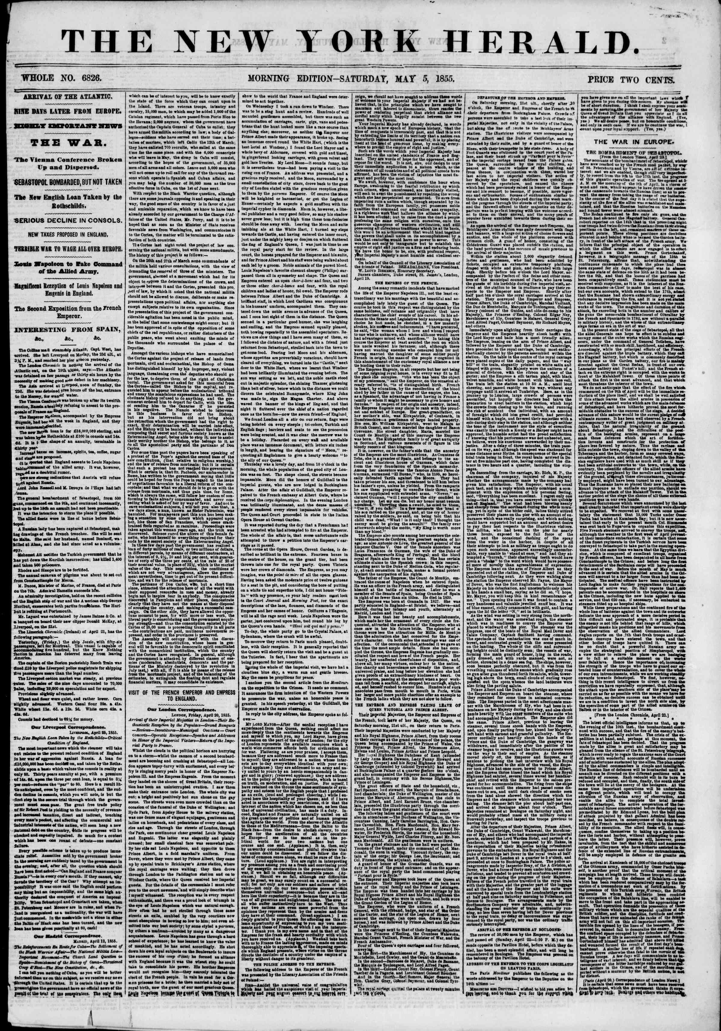 Newspaper of The New York Herald dated May 5, 1855 Page 1