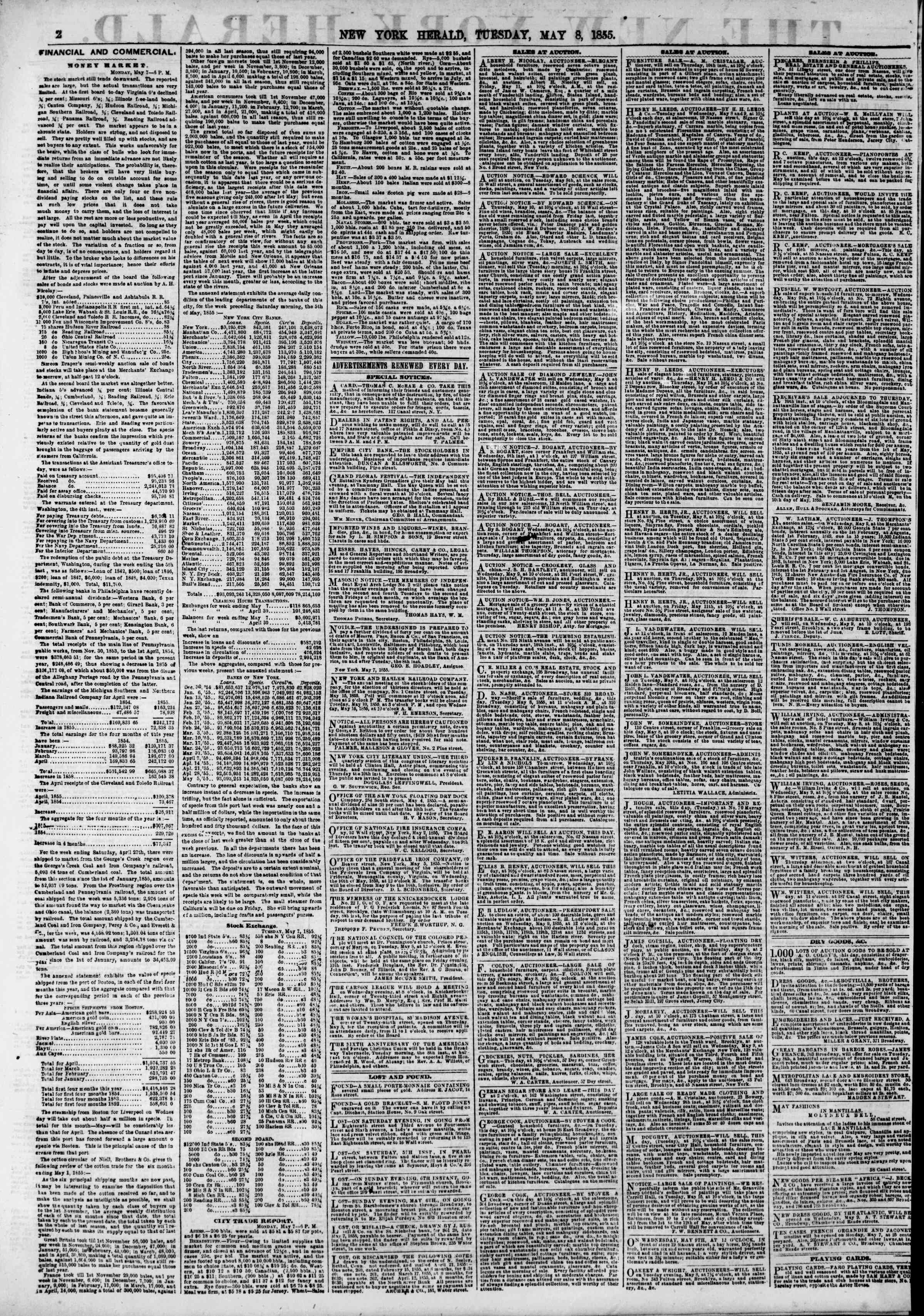 Newspaper of The New York Herald dated May 8, 1855 Page 2