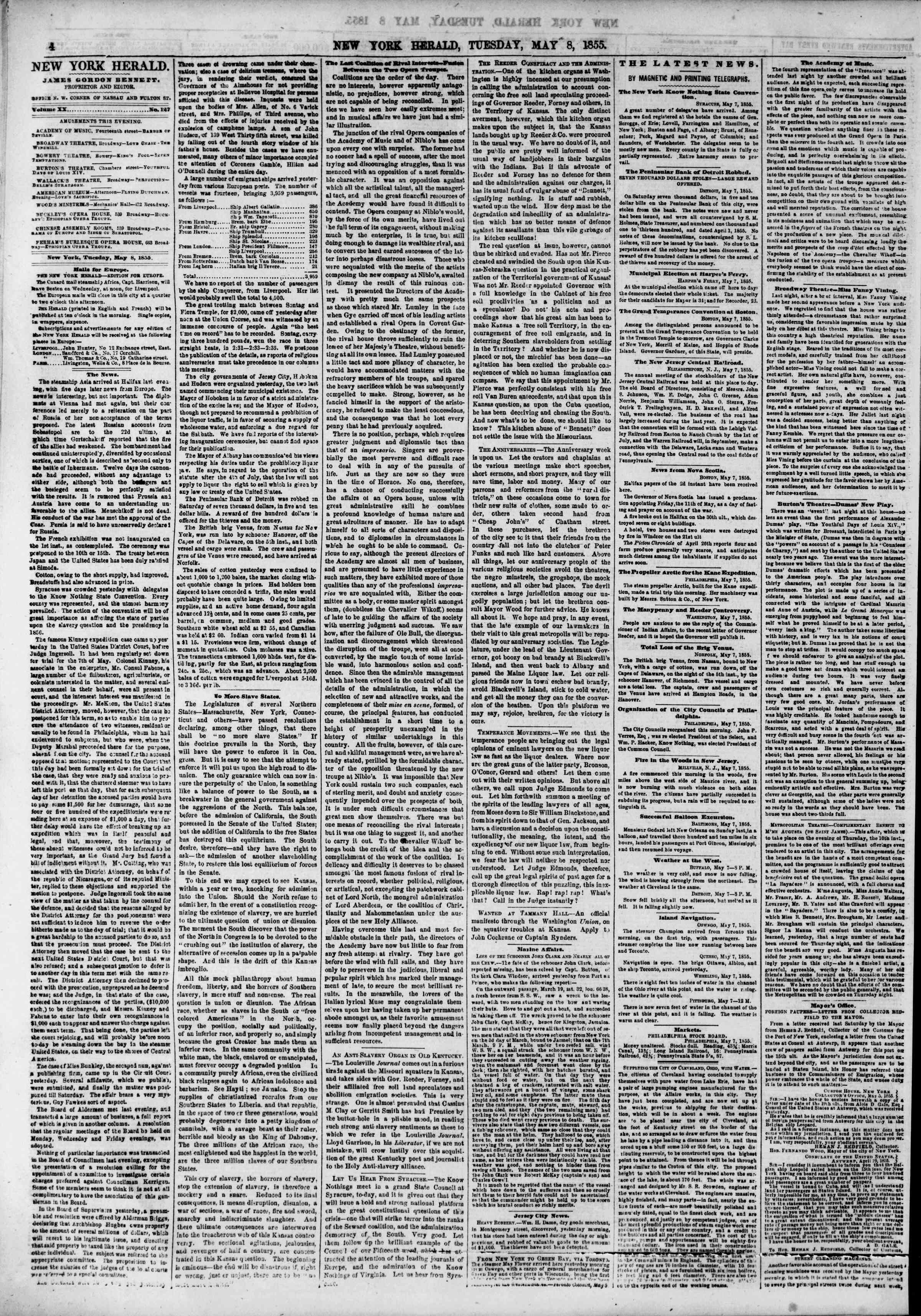Newspaper of The New York Herald dated May 8, 1855 Page 4