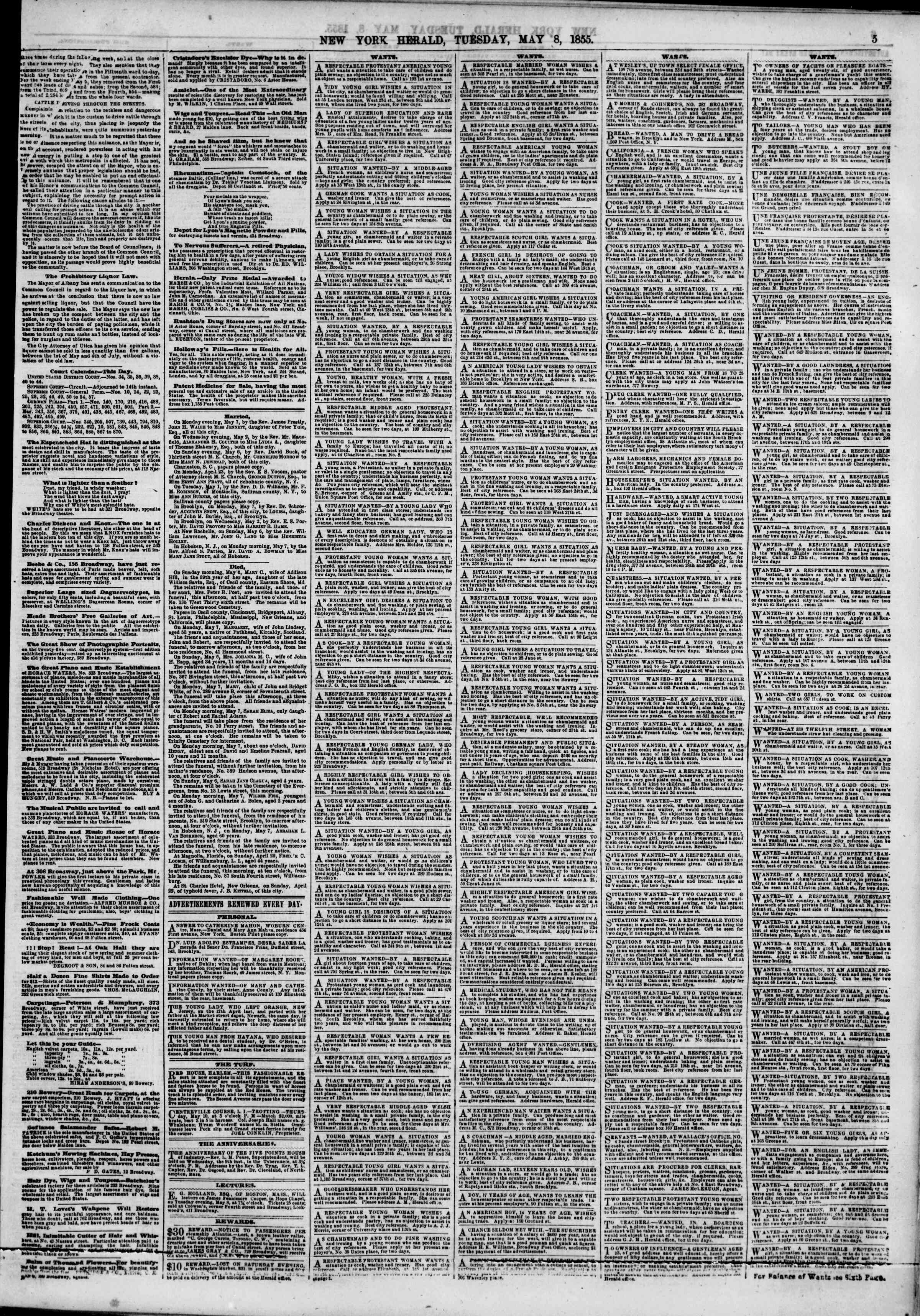 Newspaper of The New York Herald dated May 8, 1855 Page 5